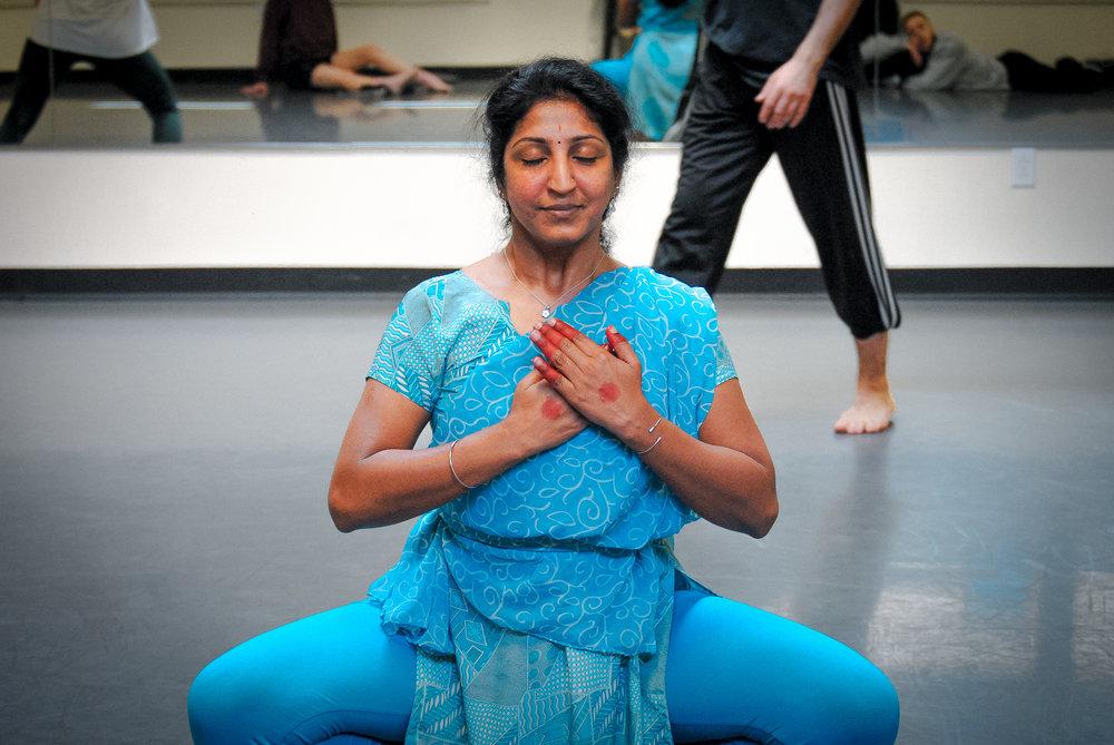 Bhuvana Venkatraman in rehearsal with Dark Circles.