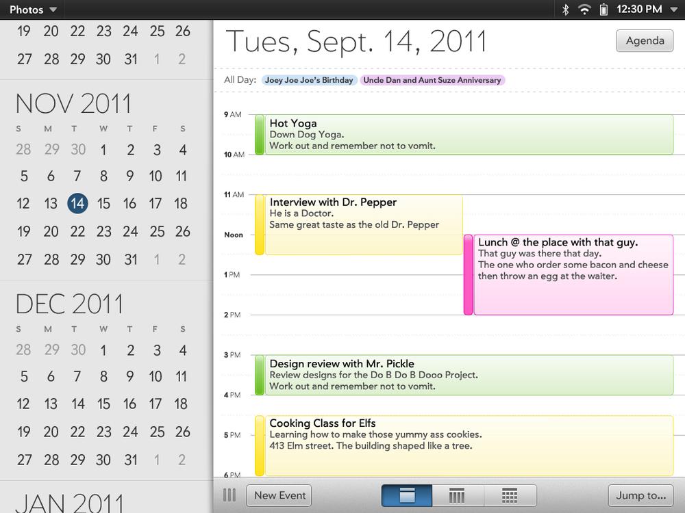 webOS Calendar App — Greg Cuellar