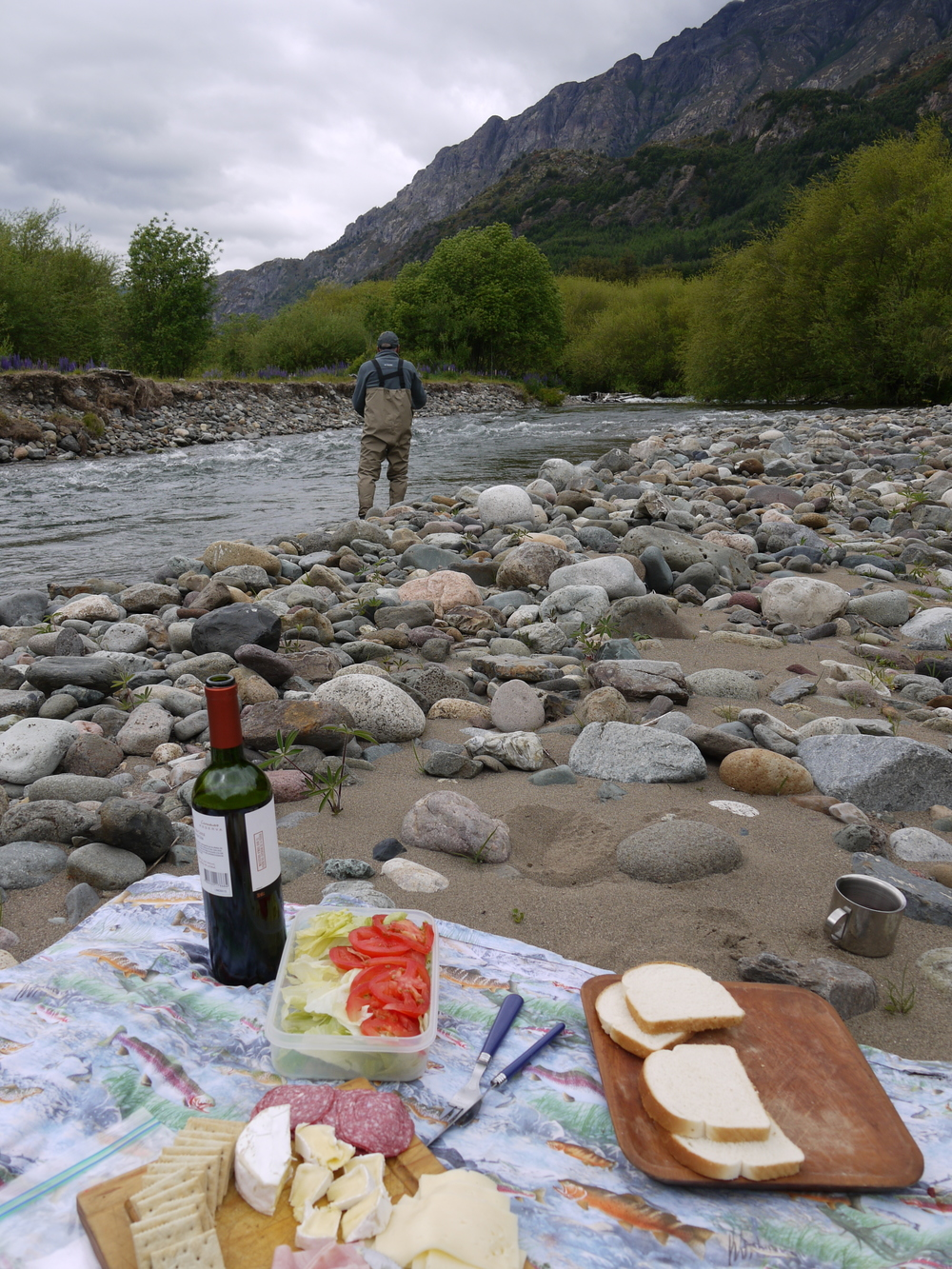 River picnic with a side of fishing.