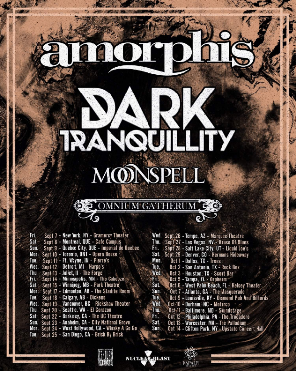 "Sweden's  DARK TRANQUILLITY  and Finland's  OMNIIUM GATHERUM  will combine their melodic death metal forces as the  CENTURY MEDIA RECORDS  labelmates join Finnish heavy metallists Amorphis on their upcoming trek across North America later this fall. Also featuring support from Portugese gothic metal outfit Moonspell, the tour will run from September 7 to October 14. Full dates can be found listed at the bottom of this page.    DARK TRANQUILLITY  will be out in continued support of their eleventh studio album, 2016's ""Atoma"", which was nominated for a Swedish Grammi award. Check out the video for the album's pulverizing single ""Forward Momentum"" here:  https://www.youtube.com/watch?v=suhuQlYZwtE . ""Atoma"" can be streamed/downloaded at  http://smarturl.it/AtomaiTunes . European fans can catch  DARK TRANQUILLITY  before they venture overseas on a headlining tour featuring support by Equilibrium from March 22 to May 5. Dates can be found at  http://www.darktranquillity.com .    OMNIUM GATHERUM  are currently in the studio working on their next release via  CENTURY MEDIA RECORDS  due out later this year.  Guitarist Markus Vanhala checked in from the studio commenting, "" Greetings from the studio vaults, we're busy here at forging the new OMNIUM GATHERUM album during the Finnish winter madness season, and the stars are aligned and the feelings & hopes are high here, even the outside temperature definitely isn't! Everything's been going really well and easily with producing this successor for the successful ""Grey Heavens"", and i'll promise this albums gonna beat the previous one for real - the league of angry old men are here for your enjoyment!  Before we'll announce any facts for the new album as title or release date, we can only suspiciously reveal that the album touring cycle will start this time from North America! Couldn't hope to tour in any better company than this; joining together on a tour trek with our good friends of these three bands and the best acts of the scene  - Amorphis, Dark Tranquillity and Moonspell. This tour will rule the stages and the roads, and be a metal party you and us won't ever forget! ""  Take a listen to  OMNIUM GATHERUM 's ""absolutely splendorous"" and ""awe-inspiring majesty"" (Metal-Temple) single ""Frontiers"", taken from their 2016 release, ""Grey Heavens"", here:  https://www.youtube.com/watch?v=ubmuUiozKyo.   Buy a copy of ""Grey Heavens"" now at  http://smarturl.it/OG-GreyHeavens     DARK TRANQUILLITY & OMNIUM GATHERUM TOUR DATES   9/7 New York, NY - Gramercy Theater #   9/8 Montreal, QC - Cafe Campus #   9/9 Quebec City, QC - Imperial #   9/10 Toronto, ON - Opera House #   9/11 Ft. Wayne, IN - Pierre's #   9/12 Detroit, MI - Harpos #   9/13 Joliet, IL - The Forge #   9/14 Minneapolis, MN - The Cabooze #   9/15 Winnipeg, MB - Park Theatre #  9/17 Edmonton, AB - Starlite Room #   9/18 Calgary, AB - Dickens #   9/19 Vancouver, BC - Rickshaw Theatre #   9/20 Seattle, WA - El Corazon #   9/22 Berkeley, CA - The UC Theatre #   9/23 Anaheim, CA - City National Grove #   9/24 West Hollywood, CA - Whiskey a-Go-Go #  9/25 San Diego, CA - Brick By Brick #   9/26 Tempe, AZ - Marquee Theatre #   9/27 Las Vegas, NV - House of Blues #   9/28 Salt Lake City,  UT - Liquid Joe's #   9/29 Denver, CO - Herman's Hideaway #   10/1 Dallas, TX - Trees #   10/2 San Antonio, TX - Rock Box #   10/3 Houston, TX - Scout Bar #   10/5 Tampa, FL - Orpheum #   10/6 West Palm Beach, FL - Kelsey Theater #   10/7 Atlanta, GA - Masquerade #   10/9 Louisville, KY - Diamond Pub & Billiards #   10/10 Durham, NC - Motorco #   10/11 Baltimore, MD - Soundstage #   10/12 Philadelphia, PA - The Trocadero #   10/13 TBA   10/14 Clifton Park, NY - Upstate Concert Hall #  # with Amorphis & Moonspell   DARK TRANQUILLITY online:   http://www.darktranquillity.com   https://www.facebook.com/dtofficial   https://www.instagram.com/darktranquillityofficial/    OMNIUM GATHERUM online:    http://www.omniumgatherum.org   https://www.facebook.com/omniumgatherumband"