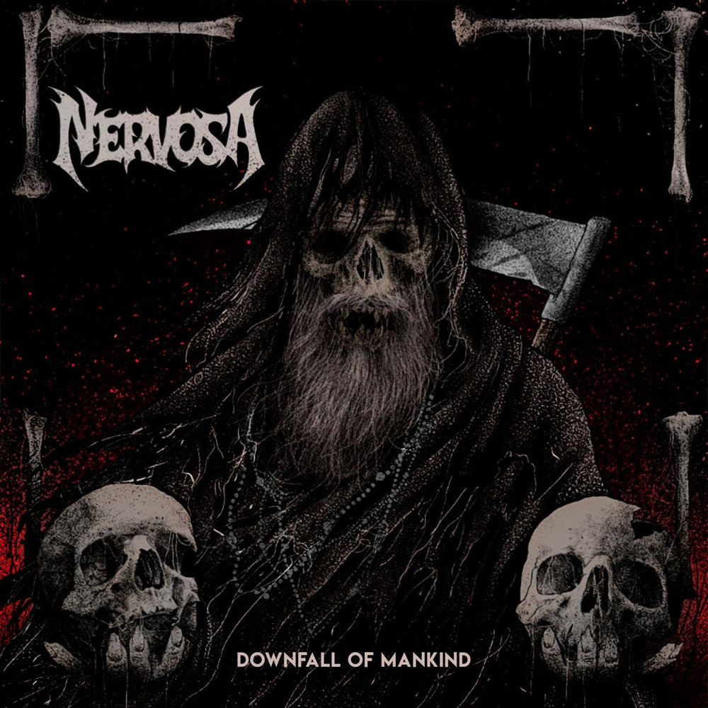"""Downfall of Mankind""   is available in the following formats:  1 CD Digipack 1 LP Gatefold   Digital Album  Pre-Order your copy  HERE!    Tour Dates:  NERVOSA  w/ Venom Inc., Suffocation  21.03.18 DE - Ingolstadt / Eventhalle Westpark 22.03.18 IT - Brescia / Circolo Colony 23.03.18 IT - Bologna / Zona Roveri 24.03.18 AT - Graz / Explosiv 25.03.18 HU - Budapest / Barba Negra 26.03.18 RO - Cluj-Napoca / From Space 27.03.18 AT - Vienna / Viper Room 28.03.18 SK - Kosice / Collosseum 29.03.18 CZ - Prague / Nova Chmelnice 30.03.18 DE - Dresden / Eventwerk 31.03.18 PL - Katowice / Megaclub  13.07.18 DE - Milmersdorf / Headache Inside 14.07.18 DE - Torgau / In Flammen 17.08.18 CZ - Litomerice / Death Coffee Party 25.08.18 AT - Spital am Semmering / Kaltenbach Open Air 30.08.18 CH - Luzern / Schüür 31.08.18 CH - Hauteville / Abyss Festival 01.09.18 BE - Chapelle-Lez Herlaimont / Cercle Metal Festival 02.09.18 UK - Edingburg / Heavy Scotland   Line-up:  Fernanda Lira - Vocals & Bass Prika Amaral - Guitars & Backing Vocals Luana Dametto - Drums"