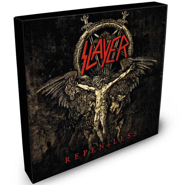 The annual International Day of  Slayer  is just around the corner - June 6, 2018 - and this year, the day's celebration will begin with the release of  Slayer 's   Repentless   collector's vinyl box set.   The limited edition release will be available in black, red and gold-colored discs, and only 2500 of each color will be manufactured worldwide. Each set will feature six single vinyl EPs, each one measuring a unique 6.66-inches in diameter, and each will contain two songs from the   Repentless   album. The red and black discs version will retail for $66.66, while the gold disc set will be priced at $73.99.  The box sets can be pre-ordered starting today at  http://nuclearblast.com/slayer .   On January 22, Slayer announced that the band will do one final world tour to say goodbye and thank the fans for more than three decades of great times, and then move on.  With support from Lamb of God, Anthrax, Behemoth and Testament, Slayer's North American Leg One dates start on May 10 in San Diego, CA.  All announced dates are below.    LEG ONE  (Lamb of God, Anthrax, Behemoth and Testament will support)  MAY  10   Valley View Casino Center, San Diego, CA 11   Five Point Amphitheatre, Irvine, CA   SOLD OUT  13   Papa Murphy's Park at Cal Expo, Sacramento, CA 16   Pacific Coliseum, Vancouver, BC 17   South Okanagan Events Centre, Penticton, BC 19   Big Four, Calgary, AB    SOLD OUT  20   Shaw Conference Centre, Edmonton, AB    SOLD OUT  22   Bell MTS Place, Winnipeg, MB 24   The Armory, Minneapolis, MN    SOLD OUT  25   Hollywood Casino Amphitheatre, Tinley Park, IL  27   Michigan Lottery Amphitheatre at Freedom Hill, Detroit, MI    SOLD OUT  29   Budweiser Stage, Toronto, ON    SOLD OUT  30   Place Bell, Montreal, PQ    SOLD OUT     JUNE   1    Mohegan Sun Arena, Uncasville, CT    SOLD OUT   2    PNC Bank Arts Center, Holmdel, NJ    4    Santander Arena, Reading, PA    SOLD OUT   6    Riverbend Music Center, Cincinnati, OH  7    Blossom Music Center, Cleveland, OH  9    KeyBank Pavilion, Pittsburgh, PA 10   Jiffy Lube Live, Bristow, VA 12   Veteran's United Home Loans  Amphitheater, Virginia Beach, VA 14   PNC Music Pavilion, Charlotte, NC 15   Orlando Amphitheater, Orlando, FL 17   Smart Financial Centre at Sugar Land, Houston, TX    SOLD OUT  19   The Bomb Factory, Dallas, TX    SOLD OUT  20   Austin360 Amphitheater, Austin, TX   SOLD OUT     LEG TWO    (Lamb of God, Anthrax, Testament and Napalm Death will support)  JULY  26   Bank of New Hampshire Pavilion, Gilford, NH 27   Impact Music Festival, Darling's Waterfront Pavilion, Bangor, ME 29   Northwell Health at Jones Beach, Wantagh, NY 31   The Pavilion at Montage Mountain, Scranton, PA    AUGUST   1    Times Union Center, Albany, NY  3    Darien Lake Performing Arts Center, Darien Lake, NY  4    Lakeview Amphitheater, Syracuse, NY  6    Budweiser Gardens, London, ON  7    Van Andel Arena, Grand Rapids, MI  9    Hollywood Casino Amphitheatre, St. Louis, MO 10   Cellairis Amphitheatre at Lakewood, Atlanta, GA 12   Municipal Auditorium, Nashville, TN 13   Walmart AMP, Rogers, AR 15   Freeman Coliseum, San Antonio, TX 16   The Zoo Amphitheatre, Oklahoma City, OK 18   Fiddler's Green Amphitheatre, Denver, CO 19   USANA Amphitheatre, Salt Lake City, UT 21   Ford Idaho Center Amphitheater, Boise, ID 23   Sunlight Supply Amphitheater, Portland, OR 26   SAP Center, San Jose, CA  Pre-order your  REPENTLESS  6.66-inch special collector vinyl box set here :  http://nuclearblast.com/slayer .