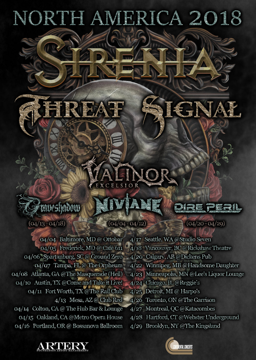 "Norway's  SIRENIA  return to the road in North America tonight alongside on a headline tour with support Canada's Threat Signal.  The tour starts in Baltimore, MD and runs through April 29th in Brooklyn, NY.  A complete list of dates can be found below.  ""We are very excited to be returning to North America. Thanks to all our fans who supported us the last time, we are able to come back for yet another tour.  Our goal is to keep coming back on a regular basis. Looking forward to seeing you all again very soon,"" says  SIRENIA  mastermind Morten Veland.   SIRENIA  are currently hard at work on the follow up to their 2016 Napalm Record's release  ""Dim Days of Dolor""  and are shooting for a late 2018 release.  Expect to see your  SIRENIA  favorites and new selections on tour!   SIRENIA + Threat Signal + supports    4/4: Baltimore, MD @ Ottobar    4/5: Frederick, MD @ Café 611    4/6: Spartanburg, SC @ Ground Zero    4/7: Tampa, FL @ The Orpheum    4/8: Atlanta, GA @ The Masquerade (Hell)    4/10: Austin, TX @ Come and Take it Live!    4/11: Fort Worth, TX @ The Rail Club    4/13: Mesa, AZ @ Club Red    4/14: Colton, CA @ The Hub Bar & Lounge    4/15: Oakland, CA Metro Opera House    4/16: Portland, OR @ Bossanova Ballroom    4/17: Seattle, WA Studio Seven    4/18: Vancouver, BC Rickshaw Theatre    4/20: Calgary, AB Dickens Pub    4/22: Winnipeg, MB Handsome Daughter    4/23: Minneapolis, M Lee's Liquor Lounge    4/24: Chicago, IL Reggie's    4/25: Detroit, MI Harpo's    4/26: Toronto, ON The Garrison    4/27: Montreal, QC Katacombes    4/28: Hartford, CT Webster Underground    4/29: Brooklyn, NY @ The Kingsland       More on SIRENIA:       SIRENIA  was formed by Morten Veland in January 2001. Morten's musical work was already well known through his work with his former band Tristania, a band he co-founded back in the mid-nineties. Being the main songwriter for this band he was a part of defining the gothic metal sound from a very early time on.  With  SIRENIA  his intention was to bring it to the next level, a task he succeeded to fulfil. Up to date  SIRENIA  has released 7 albums, an EP and several singles. Their albums have made it to the charts in 6 countries, receiving great reviews worldwide. Meanwhile their singles have topped radio charts in several countries. Their 8th album 'Dim Days of Dolor' will be released on the 11th of November 2016 by Napalm Records. 'Dim Days of Dolor' is a very diverse and complete album that sums up the bands career in addition to adding new and exciting elements. With this album the band shows that they have staked out their musical path and perfected their unique style.   SIRENIA  sounds like a mixture of gothic metal and rock with classical orchestrations, in addition to some elements from more extreme metal genres. Their sound have a solid base in the powerful drums and bass supported by massive rhythm guitars, dressed with atmospheric keyboards andspiced with melancholic violins and 12-string guitars. The music is at all times melodic and groovy. The vocal styles are diverse and consist of female vocals, choirs, growls, screams, clean male vocals, whispers and samples. The songs are very intense and the atmosphere changes frequently. The lyrics are based on reflections on life, death, love, hate, paranoia, anxiety and mental decline in general.      For More Info Visit:    https://www.facebook.com/sirenia/   http://www.mortenveland.com/sirenia/"