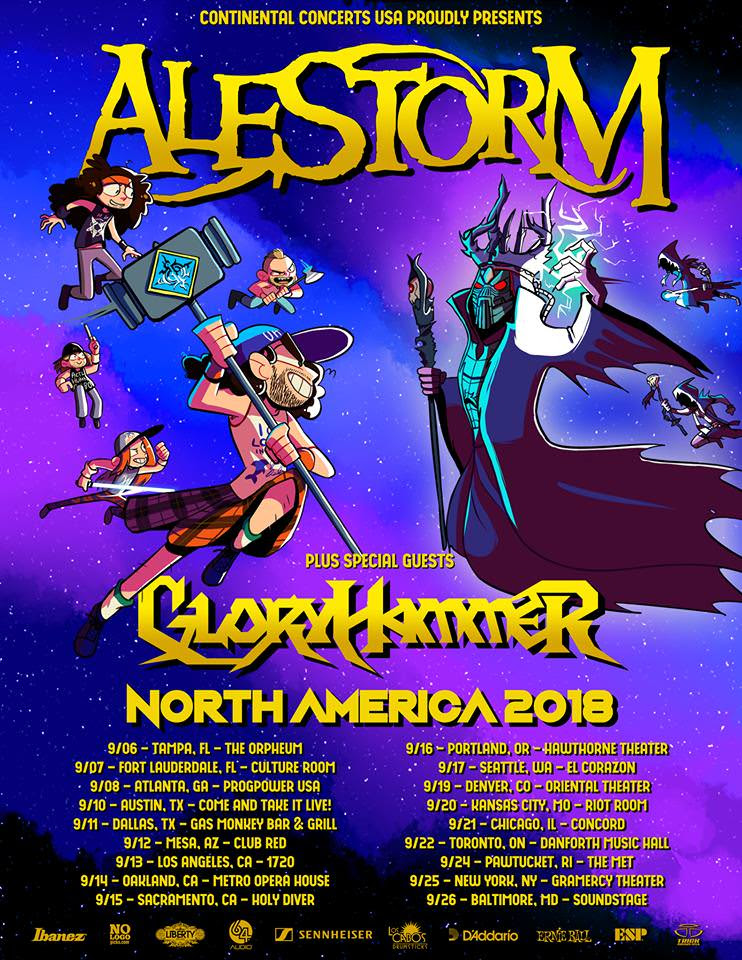 "We interrupt your regularly scheduled emails for a special message from  Alestorm  and  Gloryhammer :  ""Oh god. It's finally happened. It's that moment you've all been waiting for...a chance to complain that we're not coming to your city! We just can't wait to read your whining messages! Oh yeah and it's also a tour with  Alestorm  and  Gloryhammer  around the USA and a tiny bit of Canada (and still we have the audacity to call it a North American tour, how do you like that?). Anyway, see y'all for a party in September. Bring ducks.""  Pick up your copy of the Tenth anniversary edition of  Alestorm's ""Captain Morgan's Revenge""   HERE .   Gloryhammer's  latest masterpiece  ""1992: Rise of the Chaos Wizards""  can be picked up  HERE .   ALESTORM W/ GLORYHAMMER:   9/6: Tampa, FL @ The Orpheum    9/7: Ft. Lauderdale, FL @ Culture Room    9/8: Atlanta, GA @ Prog Power Festival*    9/10: Austin, TX @ Come and Take it Live!    9/11: Dallas, TX @ Gas Monkey Bar & Grill    9/12: Mesa, AZ @ Club Red    9/13: Los Angeles, CA @ 1720    9/14: Oakland, CA @ Metro Opera House    9/15: Sacramento, CA @ Holy Diver    9/16: Portland, OR @ Hawthorne Theater    9/17: Seattle, WA @ El Corazon    9/19: Denver, CO @ Oriental Theater    9/20: Kansas City, MO @ Riot Room    9/21: Chicago, IL @ Concord    9/22: Toronto, ON @ Danforth Music Hall    9/24: Pawtucket, RI @ The Met    9/25: New York, NY @ Gramercy Theater    9/26: Baltimore, MD @ Soundstage    For More Info Visit:   http://www.alestorm.net/   http://www.facebook.com/alestormband    https://www.facebook.com/gloryhammer/    http://www.gloryhammer.com"