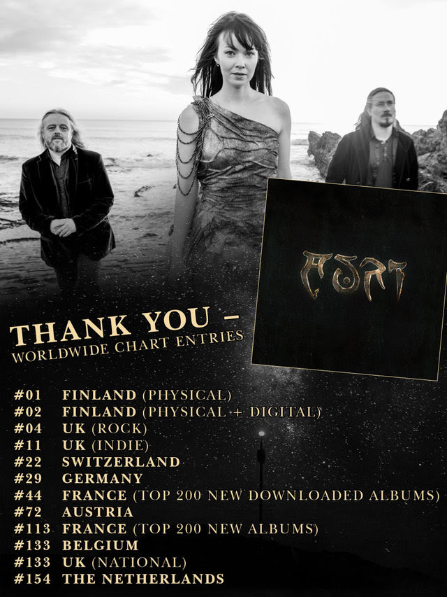 "Echoes of another world resound from the depths of the legendary rabbit hole. Music diffused with moments of silence and escapist dream sequences, freed from time and earthly presence - now immortalized on  AURI 's self-titled debut album, which was released on March 23rd via  Nuclear Blast.   Today, the band proudly announce the chart results of   Auri ,  which not only charted an awesome  #2  in Finland but also in many other countries! These are all chart entries:  #01 Finland (Physical) #02 Finland (Physical + Digital) #04 UK (Rock) #11 UK (Indie) #22 Switzerland #29 Germany #44 France (Top 200 New Downloaded Albums) #72 Austria #113 France (Top 200 New Albums) #133 Belgium #133 UK (National) #154 The Netherlands   AURI  also unveil the fourth album trailer today, in which the trio speaks about the album production and first takes. Watch the clip here:  https://youtu.be/8vkYbT5MfhQ    Troy Donockley  comments:  ""The extraordinary thing about [the album] is that we had no producer. Most bands have a producer but we didn't need or want someone who says 'Could you just do that again, I didn't like that'. It's a really rare situation!""    More on »Auri«:   ""Night 13""  [OFFICIAL MUSIC VIDEO]:  https://youtu.be/fYVmmWNskjs   ""Night 13""  [BEHIND THE SCENES]:  https://youtu.be/_Jm_LdNfxao   ""The Space Between""  [OFFICIAL LYRIC VIDEO]:  https://www.youtube.com/watch?v=IMGykxseAlc   ""Desert Flower""  [OFFICIAL LYRICVIDEO]:  https://youtu.be/9DIhoIZU0zg  Trailer #1:  https://www.youtube.com/watch?v=jEeDAuL6fXg  Trailer #2:  https://youtu.be/4IqcPosiGyM     Auri   is available as digipak CD, 2LP gatefold Vinyl, limited Earbook and digital, here: http://nblast.de/AURIAuri   Tracklist   Auri  : 01. The Space Between 02. I Hope Your World Is Kind 03. Skeleton Tree 04. Desert Flower 05. Night 13 06. See 07. The Name Of The Wind 08. Aphrodite Rising 09. Savant 10. Underthing Solstice 11. Them Thar Chanterelles   AURI  begun its life with three people, united through their shared need to hear a kind of music which can't be described by words alone. A magical kind of sound to be heard whilst falling down Alice's rabbit hole. The Finnish singer  Johanna Kurkela  lent her unique voice, while  Troy Donockley  and  Tuomas Holopainen  (both  NIGHTWISH ) cast their spells with various other instruments. Using selected guest musicians and friends, their self-titled debut album finally took its ultimate form under the direction of sound engineer  Tim Oliver , all within the pastoral splendor of  'Real World' studios  in Southern England.   AURI  consists of:  Johanna Kurkela : Voices & viola  Tuomas Holopainen : Keys & backing voices  Troy Donockley : Acoustic and electric guitars, bouzouki, uilleann pipes, low whistles, aerophone, bodhran, keys, voices   Order your copy of the album here: http://nblast.de/AURIAuri"