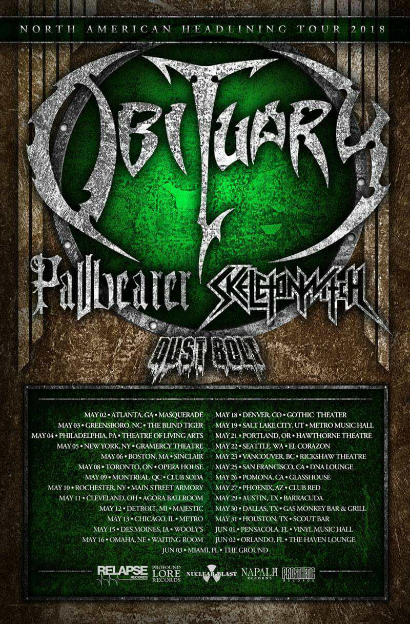 "Last year, Napalm Records artist and German Thrashers  Dust Bolt , stormed the shores of North America for the first time.  After a successful tour,  Dust Bolt  are now back and ready to hit the road alongside Obituary, Pallbearer and Skeletonwitch. The tour starts tonight in Atlanta, GA at The Masquerade and runs June 3rd in Miami, FL.  A complete list of dates can be found below.   Dust Bolt  frontman Lenny Bruess cannot wait to return to North America:  ""We´re back again! What´s up America!?  Dust Bolt  is coming back to North America and WE CAN`T wait to hit the stages and go 100 percent nuts with you all! We just recorded our new album and didn´t play a live show in 4 months, so we´re more than stoked to bang our heads and shred some riffs for you! I hope you are prepared! See you all on tour!""   DUST BOLT  released their third album   Mass Confusion     in July 2016 via Napalm Records.  ( Order Here )   It's only been seven years since Southern Germans  DUST BOLT  won the W:O:A Metal Battle 2011 - six years the band has used to transform themselves from hot newcomers into national thrash heroes with their debut Violent Demolition! These Bay Area aficionados dropped their third full length Mass Confusion in July 2016. Relentless touring plus constant fine-tuning of the typical  DUST BOLT  sound have finally paid off: the old school songwriting is focused and free of ballast weight, yet despite all the rage and aggression there is still plenty of breathing space for melodic guitar work, gang shouts and ten-ton grooves.   For More Info Visit:   www.facebook.com/dustbolt"