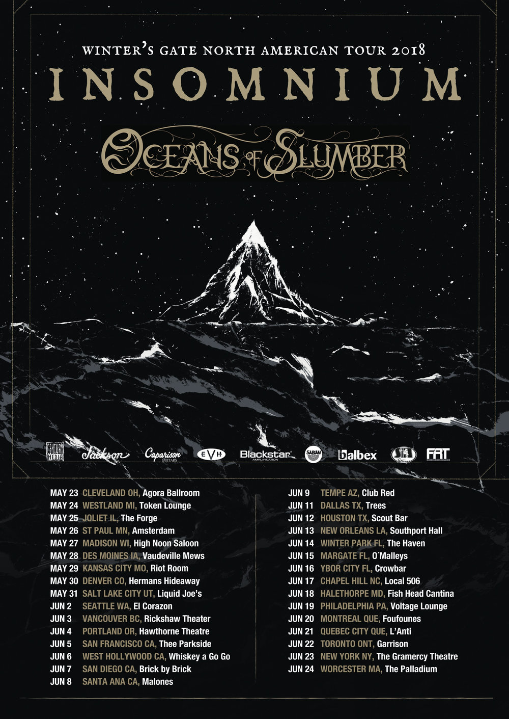 Finnish melodic death metal outfit  INSOMNIUM  will kick off their North American tour featuring direct support from Houston, TX-based progressive metal group  OCEANS OF SLUMBER  tonight in Cleveland, OH at Agora Ballroom! Making their way across the U.S. and Canada over the next month, the tour will make it's final stop on June 24 at The Palladium in Worcester, MA. Full dates can be found in the above tour poster or listed below.  Fans can enter to win a pair of tickets for each stop on the tour exclusively via Metalsucks. To enter to win, please visit:  http://www.metalsucks.net/2018/05/22/were-giving-away-a-pair-of-tickets-for-every-stop-on-insomnium-and-oceans-of-slumbers-north-american-tour/