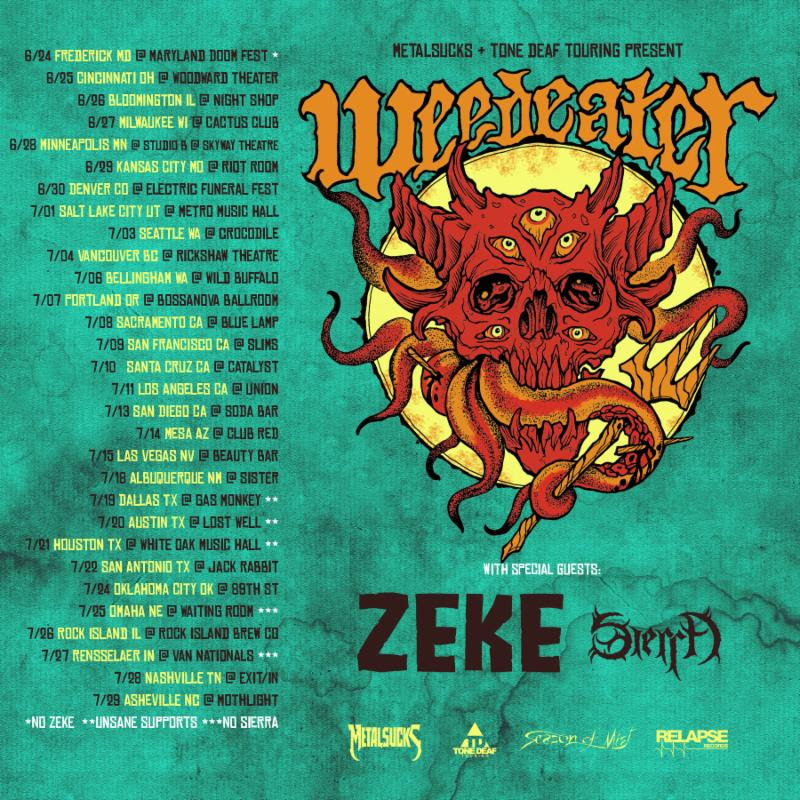 "Seattle's long-running supercharged punk outfit  ZEKE  embark on their North American tour supporting Weedeater early next week, supporting their recently-released  Hellbender  LP, their first new album in over fourteen years.  The tour begins this Monday, June 25th in Cincinnati, Ohio, and runs through July 29th, ending in Asheville, North Carolina. Additional support will be provided by Sierra, and Unsane will also join the bill on the three Texas shows, July 19th, 20th, and 21st.  Short, fast, loud, and to the fuckin' point,  Hellbender  contains fifteen tracks laced with  ZEKE 's signature mix of hyperspeed thrash-punk and Motörhead possessed, hard as nails, rock n' roll. Complete with raucous, in-your-face production by Jack Endino (Nirvana, High On Fire, The Accüsed), and finished with cover art by Hollis Tucker and Lee Goode,  Hellbender  is the culmination of a band twenty-five years into their career, sounding more aggressive, immediate and turbo-charged than ever before! Ride to live...   ZEKE's  Hellbender  is available now on CD, LP, and digital via Relapse Records. See the video for ""Two Lane Blacktop"" and stream/purchase the album through all digital streaming services  HERE .       https://www.facebook.com/ZekeBand    https://www.instagram.com/ZekeBand    https://www.twitter.com/ZekeBand    http://zekeband.bandcamp.com    http://www.relapse.com    http://www.relapserecords.bandcamp.com    http://www.facebook.com/RelapseRecords    http://www.twitter.com/RelapseRecords    https://www.instagram.com/relapserecords"