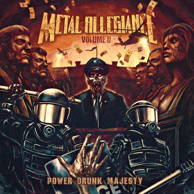 """METAL ALLEGIANCE  began as a celebration of heavy metal, powered by the almost tribal bond shared between the extreme music community's most revered trailblazers, armed with a list of contributors onstage (and off) that read like a Wikipedia entry on the genre itself.  Last week, the band announced they will release their sophomore album   Volume II - Power Drunk Majesty   via    Nuclear Blast Entertainment    on September 7th, 2018 . Today, the band release the first album trailer. Watch as the core four discuss the differences between their debut album and their upcoming album., here: https://youtu.be/KkTxw4eIxYU     Alex Skolnic k comments """" The first time around we were kids in a candy store. We could do whatever we wanted - all different eras, all different types of influences. We did go in a few different directions on this album, but not quite as many. This time, I think we have a much better sense of what type of songs really fit the project.""""   The band released the first single """" Mother of Sin """" featuring  Bobby """"BLITZ"""" Ellsworth ( OVERKILL ). Watch the video here: https://youtu.be/sxDy11uRxNc   Pre-order your copy of  V olume II - Power Drunk Majesty , here : nuclearblast.com/metalallegiance2-pdm      Volume II - Power Drunk Majesty  will be available in the following formats:  CD Digipak  Orange with Black splatter vinyl – limited to 500  Beer with Blue splatter vinyl – limited to 500  Yellow Cassette  T-shirt + CD digi + Patch bundle   Below is the Track list:  1. The Accuser (feat. Trevor Strnad) 2. Bound by Silence (feat. John Bush) 3. Mother of Sin (feat. Bobby Blitz) 4. Terminal Illusion (feat. Mark Tornillo) 5. King with a Paper Crown (feat. Johan Hegg) 6. Voodoo of the Godsend (feat. Max Cavalera) 7. Liars & Thieves (feat. Troy Sanders) 8. Impulse Control (feat. Mark Osegueda) 9. Power Drunk Majesty (Part I) (feat. Mark Osegueda) 10. Power Drunk Majesty (Part II) (feat. Floor Jansen)  The thrash worshiping album merges old-school legends with the """
