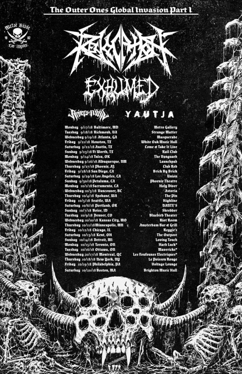 "Next week,  REVOCATION  will kick off their long-awaited North American headlining tour. The trek will begin September 17th and run through October 20th. Support will be provided by Exhumed, Rivers Of Nihil, and Yautja. See all confirmed dates below.     REVOCATION  will be touring in support of their upcoming album,  The Outer Ones . Set for release on September 28th via Metal Blade Records,  The Outer Ones  sees the band pushing both the death metal and progressive elements of their signature sound harder than ever before. ""I knew that I wanted to go in a darker direction, and this is our most death metal album to date,"" states vocalist/guitarist Dave Davidson. ""Sometimes when death metal bands go down the prog route, they lose some of that edge, but we wanted to keep the aggression at the forefront of what we do while still pushing our boundaries.""  Moving away from the societal and historical themes that informed 2016's  Great Is Our Sin , this time Davidson has immersed himself in the fantastic, evoking one of the great writers of the sci-fi/horror genre. ""The title is my ode to H. P. Lovecraft and the entities of pure cosmic horror that rule that universe he created. Since the new music we were writing was so evil and spacey in sections it seemed to be the right title to fit the overall vibe. But while the lyrical content is largely influenced by such writings, in every allegory there is of course some reflection of the real world, so I enjoy writing in a way that could have one overlaying meaning and then another deeper, symbolic meaning as well.""  For preorders and to view the band's video for ""Of Unworldly Origin,"" directed by David Brodsky, visit  metalblade.com/revocation .   ""If you've ever wondered what it feels like to be dough flattened out by a rolling pin, here's your chance to find out."" -- MetalSucks on The Outer Ones title track    http://www.revocationband.com   http://www.facebook.com/revocation   http://www.twitter.com/revocation   http://www.youtube.com/officialrevocation"