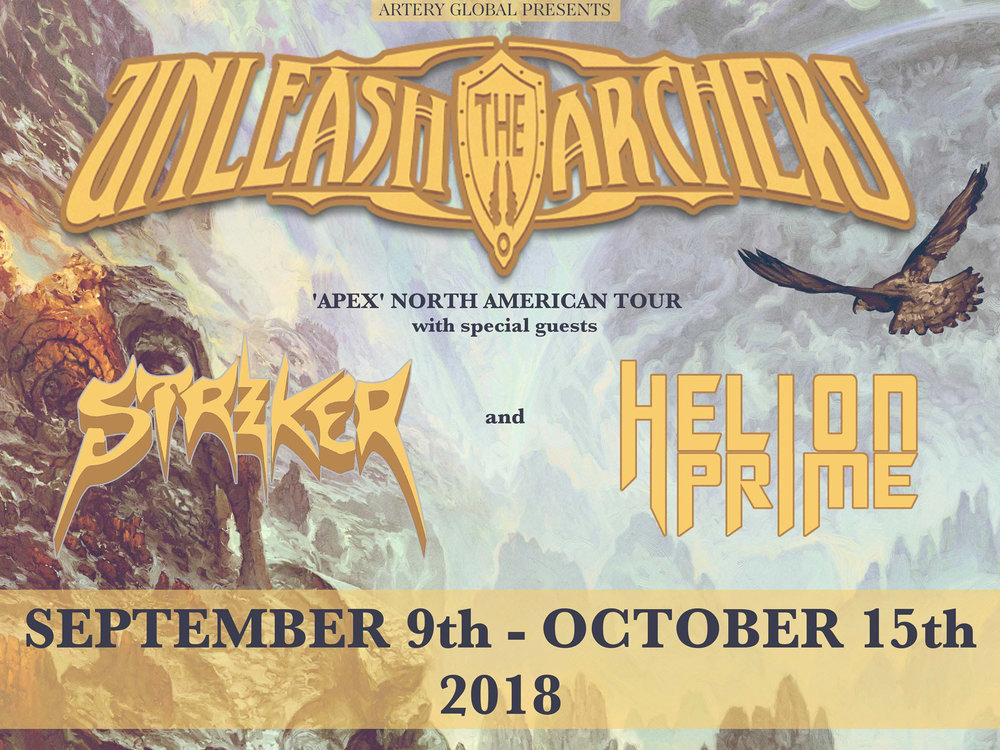 "Vancouver, Canada metallers  Unleash the Archers  currently out on the road in North America in support of their latest album    Apex   , that was released in summer of 2017 via  Napalm Records .  The tour stops tonight in Costa Mesa, CA and runs through October 14thin Vancouver, BC. A complete list of dates can be found below  Today the band is excited to share their new lyric video for the song  ""Ten Thousand Against One "", taken from   Apex  .  Watch the video  HERE .  ""When we finished recording   Apex   and had to choose the songs that would be released as singles, we had a really tough time with it!  There was no super obvious 'single' track to us, we just felt that they were all stronger together, so it was hard to decide which one would have to shoulder the burden of conveying the emotion of the record as a stand-alone.   'Ten Thousand Against One'  had been a contender from the start; that track really gets your hand banging!  So, we're super excited to finally give it the 'single' treatment it deserves ;)   Hopefully it gets everyone as stoked for this current North American tour as we are!  It's a big one, so this is a shout-out to all of our fans out there: find a show near you and come hang out with us!!!  We're bringing Striker and Helion Prime along for the ride, so it's going to be one heck of a PARTY ;) See you all soon, says frontwoman  Brittney Slayes .  With the release of their fourth album   Apex  ,  Unleash The Archers  celebrated their tenth year together and unleashed an exhilarating masterpiece that takes you on a furious adventure, weaving through elements of the strongest metal genres of our time.   Watch the band's latest videos below:     ""Cleanse The Bloodlines""      ""Awakening""      ""Time Stands Still""    Buy tickets and VIP Upgrades for the tour  HERE .   UNLEASH THE ARCHERS AND STRIKER W/Helion Prime:   9/13 Costa Mesa CA - The Tiki Bar  9/14 Phoenix AZ - Club Red  9/16 Dallas TX - Trees  9/18 Austin TX - Dirty Dog Bar  9/19 Houston TX - Scout Bar  9/24 Greenville SC - Radio Room  9/25 Raleigh NC - The Maywood  9/26 Baltimore MD - Sparta Inn  9/27 Brooklyn NY - Kingsland  9/28 Rochester NY - Montage Music Hall  9/29 Ottawa ON - Mavericks*  9/30 Quebec City QC - Bar La Source de la Martinière*  10/1 Toronto ON - Velvet Underground*  10/2 Montreal QC - Piranha Bar*  10/3 Philadelphia PA - Bar XIII  10/4 Columbus OH - The Summit  10/5 Chicago IL - Reggies  10/6 Iowa City IA - Gabe's  10/7 Denver CO - Larimer Lounge  10/9 Sioux Falls SD - Bigs Bar  10/10 Winnipeg MB - Windsor Hotel*  10/12 Calgary AB - Dickens*  10/13 Edmonton AB - Starlite Room*  10/14 Vancouver BC - Rickshaw Theatre*   *No Helion Prime    For More Info Visit:   www.facebook.com/UnleashTheArchers   www.unleashthearchers.com"