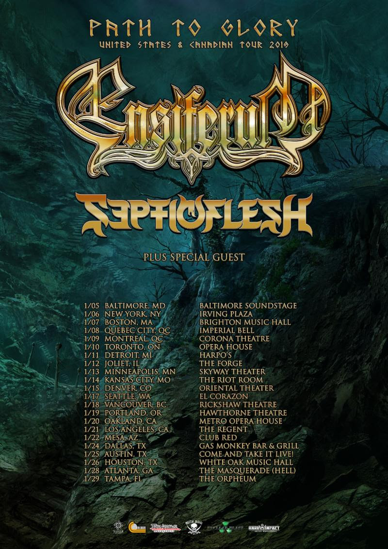 """After nearly four years of absence, ENSIFERUM has announced a full North American headlining tour. Set to begin January 5th and run through January 29th, support will be provided by Septicflesh as well as an additional opener still to be announced.  Comments bassist Sami Hinkka, """"It's been way too many years since we rocked with our North American warrior brothers and sisters. So early 2019 we will set sails and head to your shores and we are not coming alone. We will join forces with a brilliant and ass kicking band, Septicflesh, and a special guest. What a way to start a new year! This tour will leave its mark on the history of metal so get your ticket in advance and get ready to mosh with us like there is no tomorrow. On this tour, we have no chance to play in every city that we would want to, so we are doing our best to return to North America for a second time in 2019. Stay tuned and see you soon!""""  Following the trek, ENSIFERUM will also make an appearance on the 70,000 Tons Of Metal 2019 cruise. See all confirmed dates below.   ENSIFERUM w/ Septicflesh, special guest TBA:   1/05/2019 Baltimore Soundstage - Baltimore, MD  1/06/2019 Irving Plaza - New York, NY  1/07/2019 Brighton Music Hall - Boston, MA  1/08/2019 Imperial Bell - Quebec City, QC  1/09/2019 Corona Theatre - Montreal, QC  1/01/2019 Opera House - Toronto, ON  1/11/2019 Harpo's - Detroit, MI  1/12/2019 The Forge - Joliet, IL  1/13/2019 Skyway Theater - Minneapolis, MN  1/14/2019 The Riot Room - Kansas City, MO  1/15/2019 Oriental Theater - Denver, CO  1/17/2019 El Corazon - Seattle, WA  1/18/2019 Rickshaw Theatre - Vancouver, BC  1/19/2019 Hawthorne Theatre - Portland, OR  1/20/2019 Metro Opera House - Oakland, CA  1/21/2019 The Regent - Los Angeles, CA  1/22/2019 Club Red - Mesa, AZ  1/23/2019 Rockhouse Bar & Grill - El Paso, TX  1/24/2019 Gas Monkey Bar & Grill - Dallas, TX  1/25/2019 Come And Take It Live! - Austin, TX  1/26/2019 White Oak Music Hall - Houston, TX  1/28/2019 The Masquerade (Hell"""