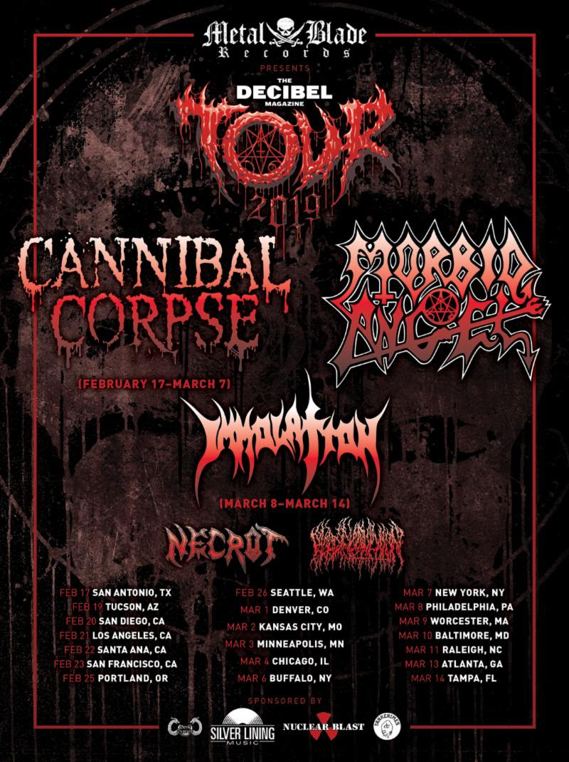"The Bay Area death bringers in  NECROT  will kick off a month-long US run of dates as part of the eighth annual Decibel Magazine Tour featuring Cannibal Corpse, Morbid Angel, Immolation, and Blood Incantation. The band will play a warm-up show on February 14th in Albuquerque, New Mexico with their comrades in Blood Incantation before heading to San Antonio, Texas February 17th to begin a twenty-nine date journey that includes one-off headlining shows along the way. See all confirmed dates below.  Don't miss the latest issue of Decibel featuring exclusive interviews with all bands on the tour. Order yours today at:  https://store.decibelmagazine.com/collections/back-issues/products/march-2019-173 .   NECROT:  2/14/2019 Sister - Albuquerque, NM **  Decibel Magazine Tour w/ Cannibal Corpse (2/17-3/07), Morbid Angel, Immolation (3/08-3/14), Blood Incantation:  2/17/2019 Alamo Music Hall - San Antonio, TX 2/18/2019 Rock House - El Paso, TX ** 2/19/2019 Club Xs - Tucson, AZ 2/20/2019 The Observatory - San Diego, CA 2/21/2019 The Fonda Theater - Los Angeles, CA 2/22/2019 The Observatory - Santa Ana, CA 2/23/2019 The Regency Ballroom - San Francisco, CA 2/24/2019 Siren's Song - Eureka, CA ** 2/25/2019 Roseland Ballroom - Portland, OR 2/26/2019 Showbox Market - Seattle, WA 2/27/2019 Neurolux - Boise, ID ** 2/28/2019 Metro - Salt Lake City, UT ** 3/01/2019 The Oriental Theater - Denver, CO 3/02/2019 The Truman - Kansas City, MO 3/03/2019 Skyway Theater - Minneapolis, MN 3/04/2019 The Concord - Chicago, IL 3/05/2019 Black Circle Brewing - Indianapolis, IN ** 3/06/2019 Town Ballroom - Buffalo, NY 3/07/2019 Playstation Theater - New York, NY 3/08/2019 TLA - Philadelphia, PA 3/09/2019 Palladium - Worcester, MA 3/10/2019 Baltimore Soundstage - Baltimore, MD 3/11/2019 Lincoln Theater - Raleigh, NC 3/12/2019 1904 Music Hall - Jacksonville, FL ** 3/13/2019 The Masquerade - Atlanta, GA 3/14/2019 Orpheum - Tampa, FL 3/15/2019 Santos - New Orleans, LA ** 3/16/2019 Lost Well - Austin, TX ** 3/17/2019 Three Links - Dallas, TX ** **  NECROT  + Blood Incantation Only   NECROT  unleashed their critically-adored  Blood Offerings  full-length via Tankcrimes in 2017. Captured by Greg Wilkinson (Vastum, Graves At Sea) and mastered by Brad Boatright (Nails, Gatecreeper), the record earned the #29 spot on Billboard's Hard Rock Chart and #52 on Billboard's New Artist Chart upon its first week of release. Additionally,  Blood Offerings  earned year-end accolades from the likes of Decibel Magazine and Revolver and continues to reap the praise of fans and critics globally.   NECROT 's  Blood Offering s is out now on CD, digital, and vinyl formats and well a newly-issued deluxe cassette edition. Additionally, Tankcrimes recently repressed the LP (now available on limited-edition splatter or olive vinyl). Find physical orders at  THIS LOCATION . Stream  Blood Offerings  in full at  THIS LOCATION  where you can also purchase the record digitally.  Forged in 2011,  NECROT  - founded by current and former members of Acephalix, Vastum, Saviours, Watch Them Die, Atrament, and more - unleashed their  The Labyrinth  full-length in 2016 via Tankcrimes. Spewing forth eight tracks amassed from three hard-to-find and long out-of-print demo tapes, the record reaped critical acclaim from fans and media alike compelled by the band's unrepentant Autopsy, Bolt Thrower, and Sacrilege worship.   ""Blood Offerings is all old ground, but it is hallowed earth. We've heard everything played on this album before, but we've never heard it played quite like this. If you're that curmudgeon who keeps saying nothing can displace your aging death metal album collection, it might be finally time to buy a new record."" - Decibel    ""Packed with killer riffs, thunderous blast beats and the death-defying leads of Saviours guitarist Sonny Reinhardt, the debut album from this hotly touted Oakland death metal trio bristles with a raw intensity that's frequently lost in the modern era of triggered, overproduced extremity. By keeping it real,    NECROT    keep it awesome."" - Revolver    ""Metaphorically, it's like putting your ear up to the chest of a rotting corpse and listening to the parasites eat it from the inside out.    NECROT    has recorded an album so putrescent you can almost smell it."" - Paste Magazine    http://www.facebook.com/cyclesofpain   http://www.tankcrimes.com   http://www.facebook.com/tankcrimes   http://www.tankcrimes.merchtable.com"