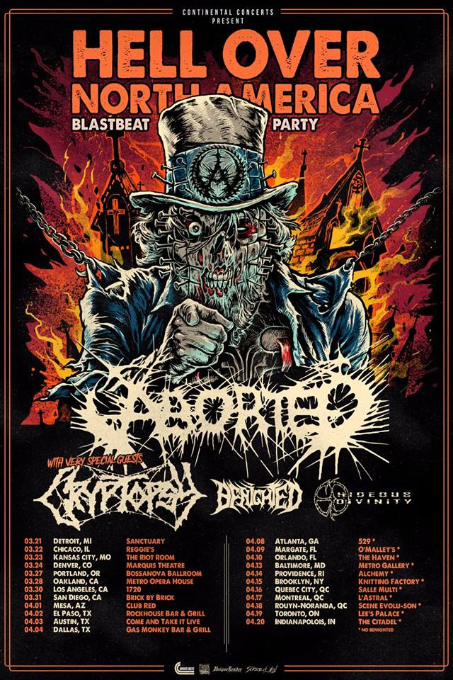Furthermore ABORTED are already confirmed for the following festival shows:   ABORTED FESTIVAL SHOWS   June 14-15 - Malaga, Spain - Rock The Coast  June 20-23 - Dessel, Belgium - Graspop  July 13 - Balaton, Hungary - Rock Marathon  July 19 - Weil am Rhein, Germany - Baden In Blut  July 20 - Milan, Italy - Circolo Svolta  July 27 - Steenwijk, Netherlands - Stonehenge  August 7-10 - Jaromer, Czech Republic - Brutal Assault  August 9-11 - Vagos, Portugal - Vagos Metal Fest  August 9-11 - Derbyshire, UK - Bloodstock  August 15-17 - Dinkelsbuhl, Germany - Summer Breeze  August 16-17 - Abruzzo, Italy - Frantic Fest  August 16-18 - Saint Nollf, France - Motocultor  August 22-24 - Andernach, Germany - Deathfest  September 7 - Huttikon, Switzerland - Meh Suff  September 14 - Eindhoven, Netherlands - Bloodshed Fest  Get  TerrorVision  here:  https://abortedband.lnk.to/TerrorVision    ABORTED line-up   Sven De Caluwe - Vocals  Mendel Bij De Leij - Guitar  Ian Jekelis - Guitar  Ken Bedene - Drums  Stefano Franceschini - Bass   Follow ABORTED:     Facebook      Instagram      Twitter      Youtube