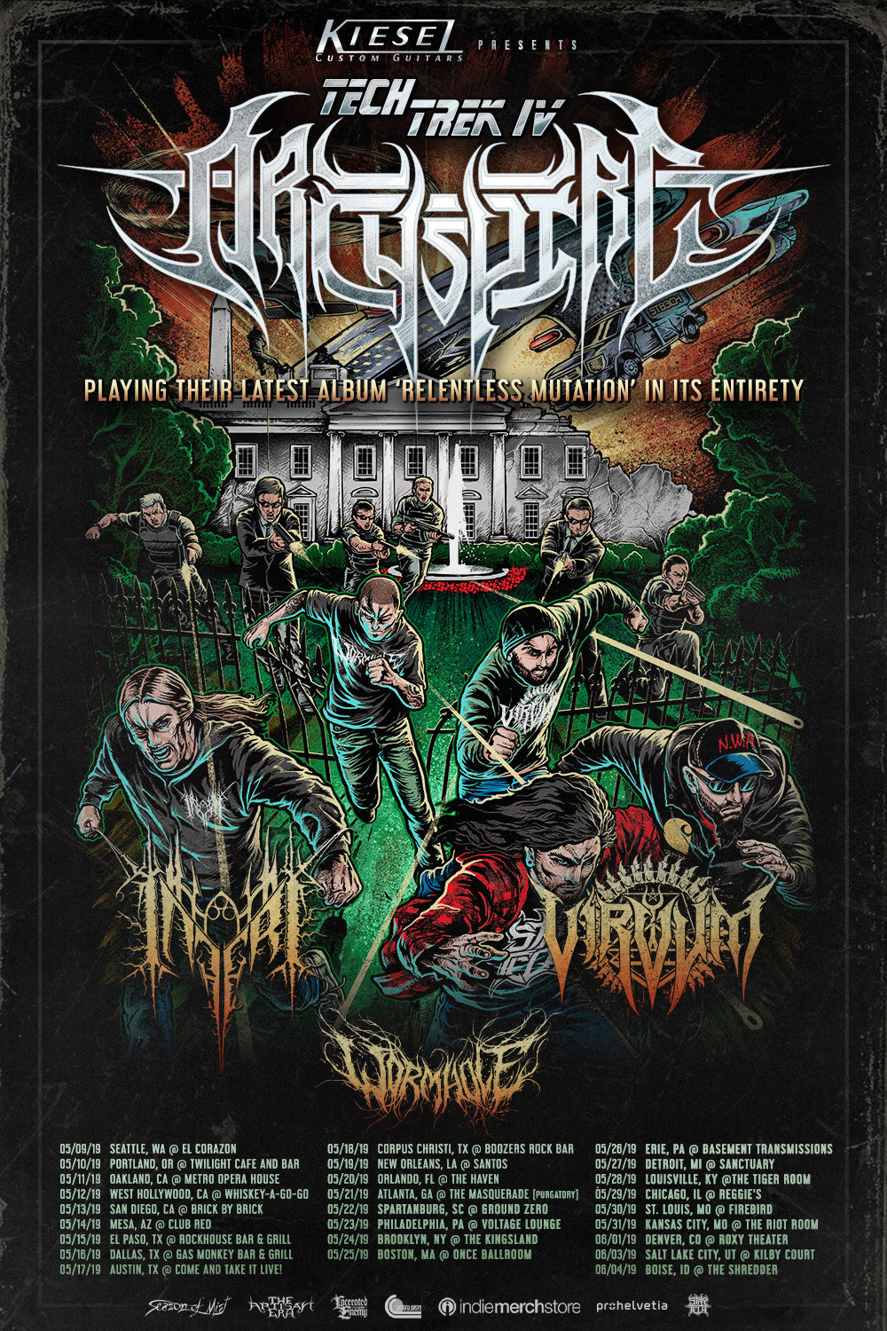 Kiesal Guitars Presents TECH TREK IV   ARCHSPIRE + VIRVUM (w/ Inferi and Wormhole):   05/09: Seattle, WA @ El Corazon ( TICKETS  //  EVENT LINK ) 05/10: Portland, OR @ Twilight Cafe & Bar ( TICKETS  //  EVENT LINK ) 05/11: Oakland, CA @ Metro Opera House ( TICKETS  //  EVENT LINK ) 05/12: West Hollywood, CA @ Whiskey-A-Go-Go ( TICKETS  //  EVENT LINK ) 05/13: San Diego, CA @ Brick By Brick ( TICKETS ) 05/14: Mesa, AZ @ Club Red ( TICKETS  //  EVENT LINK ) 05/15: El Paso, TX @ Rockhouse Bar & Grill ( EVENT LINK ) **Tix available @ door D.O.S. 05/16: Dallas, TX @ Gas Monkey Bar & Grill ( TICKETS  //  EVENT LINK ) 05/17: Austin, TX @ Come And Take It Live! ( TICKETS  //  EVENT LINK ) 05/18: Corpus Christi, TX @ Boozers Rock Bar ( TICKETS ) 05/19: New Orleans, LA @ Santos **Tix TBA** 05/20: Orlando, FL @ The Haven ( TICKETS  //  EVENT LINK ) 05/21: Atlanta, GA @ The Masquerade (Purgatory) ( TICKETS  //  EVENT LINK ) 05/22: Spartanburg, SC @ Ground Zero ( TICKETS  //  EVENT LINK ) 05/23: Philadelphia, PA @ Voltage Lounge ( TICKETS  //  EVENT LINK ) 05/24: Brooklyn, NY @ The Kingsland ( TICKETS  //  EVENT LINK ) 05/25: Boston, MA @ Once Ballroom ( TICKETS  //  EVENT LINK ) 05/26: Erie, PA @ Basement Transmissions ( TICKETS  //  EVENT LINK ) 05/27: Detroit, MI @ Sanctuary ( TICKETS  //  EVENT LINK ) 05/28: Louisville, KY @ The Tiger Room ( TICKETS  //  EVENT LINK ) 05/29: Chicago, IL @ Reggie's ( TICKETS  //  EVENT LINK ) 05/30: St. Louis, MO @ Firebird ( TICKETS  //  EVENT LINK ) 05/31: Kansas City, MO @ The Riot Room ( TICKETS ) 06/01: Denver, CO @ Roxy Theater ( TICKETS  //  EVENT LINK ) 06/03: Salt Lake City, UT @ Kilby Court ( TICKETS  //  EVENT LINK ) 06/04: Boise, ID @ The Shredder ( TICKETS  //  EVENT LINK )  Welcome to first class technical death metal madness. Machine gun vocals rattle remorselessly over a furious flurry of arpeggios, scales, and everything else that the two string wizards of ARCHSPIRE can pick at break-finger speed out their guitars. If this sou