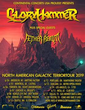 """GLORYHAMMER were founded by Alestorm frontman Christopher Bowes in 2009, who spent the next years gathering an international line-up that suited his idea to create a band based conceptually on the fantasy genre and musically fitting generally into the power metal mould. Both aims were achieved stunningly and their debut album,  Tales from the Kingdom of Fife  released by Napalm Records in 2013 immediately garnered the band high critical acclaim from critics and fans alike. GLORYHAMMER were able to top this success with their second full-length  Space 1992: Rise of the Chaos Wizards  (2015) and have continued to tour in front of ever growing audiences, performed at all major metal festivals, and have by now been nominated twice by German Metal Hammer as best band in the category """"Up & Coming"""" at the Metal Hammer Awards.   GLORYHAMMER are:  Angus McFife XIII, Crown Prince of Fife - Vocals Ser Proletius, Grand Master of the Deathknights of Crail - Guitars The Hootsman, Astral Demigod of Unst - Bass Zargothrax, Dark Emperor of Dundee - Keyboards Ralathor, the Mysterious Submarine Commander of Cowdenbeath - Drums   All info on:   Facebook   Instagram   Homepage"""