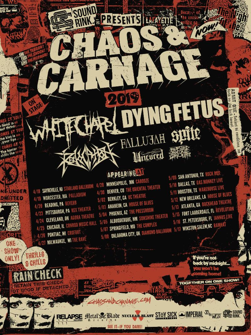 "WHITECHAPEL  will kick off their US co-headlining trek with Dying Fetus this week. The Chaos & Carnage tour will begin April 18th in Sayreville, New Jersey and wind its way through twenty-four cities through May 17th. Support will be provided by labelmates Revocation, Fallujah, Spite, Uncured, and Buried Above Ground. Tickets can be purchased at:  www.chaosandcarnage.com . See all confirmed dates below.   WHITECHAPEL w/ Dying Fetus, Revocation, Fallujah, Spite, Uncured, Buried Above Ground:  4/18/2019 Starland Ballroom - Sayreville, NJ 4/19/2019 Palladium - Worcester, MA 4/20/2019 Reverb - Reading, PA 4/23/2019 Rex Theater - Pittsburgh, PA 4/24/2019 Agora Theatre - Cleveland, OH 4/25/2019 Conrod Music Hall - Chicago, IL 4/26/2019 Crofoot - Pontiac, MI 4/27/2019 The Rave - Milwaukee, WI 4/28/2019 Cabooze - Minneapolis, MN 4/30/2019 The Oriental Theater - Denver, CO 5/02/2019 UC Theatre - Berkley, CA 5/03/2019 House Of Blues - Anaheim, CA 5/04/2019 The Pressroom - Phoenix, AZ 5/05/2019 Sunshine Theater - Albuquerque, NM 5/07/2019 The Complex - Springfield, MO 5/08/2019 Diamond Ballroom - Oklahoma City, OK 5/09/2019 Rock Box - San Antonio, TX 5/10/2019 Gas Monkey Live - Dallas, TX 5/11/2019 Warehouse Live - Houston, TX 5/12/2019 House Of Blues - New Orleans, LA 5/13/2019 Buckhead Theatre - Atlanta, GA 5/15/2019 Revolution - Fort Lauderdale, FL 5/16/2019 Jannus Live - St. Petersburg, FL 5/17/2019 Ramkat - Winston Salem, NC   WHITECHAPEL  will be touring in support of their seventh full-length studio offering,  The Valley , released in March via Metal Blade Records. Mixed by David Castillo, mastered by Ted Jensen, and produced once again by Mark Lewis (Cannibal Corpse, The Black Dahlia Murder),  WHITECHAPEL 's upcoming  The Valley  full-length is a reference to the part of Hardin Valley (west of Knoxville, Tennessee) where vocalist Phil Bozeman grew up. Set against this backdrop, he approaches his subject matter unflinchingly, building upon everything that came before, making it clear that he has survived that which he was forced to endure and is not afraid to confront it. ""Phil has been upfront in his lyrics in the past about hardships he endured in his life as a child, and I believe with this record we tried to paint a better picture of that,"" says guitarist Alex Wade. ""I feel our music is Phil's release from his past, being able to get it out and speak about it, and hopefully anyone who hears it that may have gone through similar experiences can find some release in it as well.""  Exclaim crowned  The Valley , ""the strongest release of [ WHITECHAPEL 's] career..."" In a 9/10 review, Metal Injection champions, ""one of the most well-written metal albums I have heard in quite some time,"" furthering, ""The interplay of the heavy and the melancholy is done beautifully."" Adds Consequence Of Sound, ""Thanks to a unique blend of instrumentation, excellent vocal talent, and poetic lyricism,  WHITECHAPEL 's  The Valley  takes its place among the upper ranks of the band's discography.""  To preview and purchase  WHITECHAPEL 's  The Valley  visit:  www.metalblade.com/whitechapel .   http://www.whitechapelband.com    http://www.metalblade.com/whitechapel    http://www.facebook.com/whitechapelmetal    http://twitter.com/whitechapelband    http://instagram.com/whitechapelband"