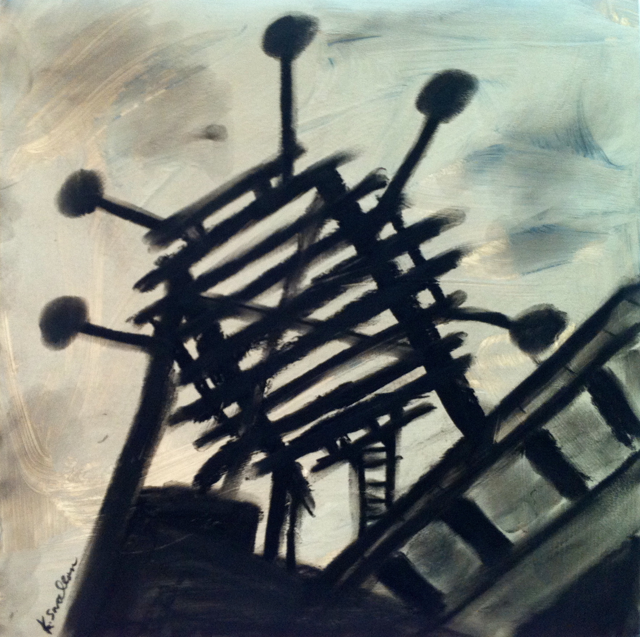 Water Tank Platform, acrylic and charcoal on record album cover, 12x12, 2012