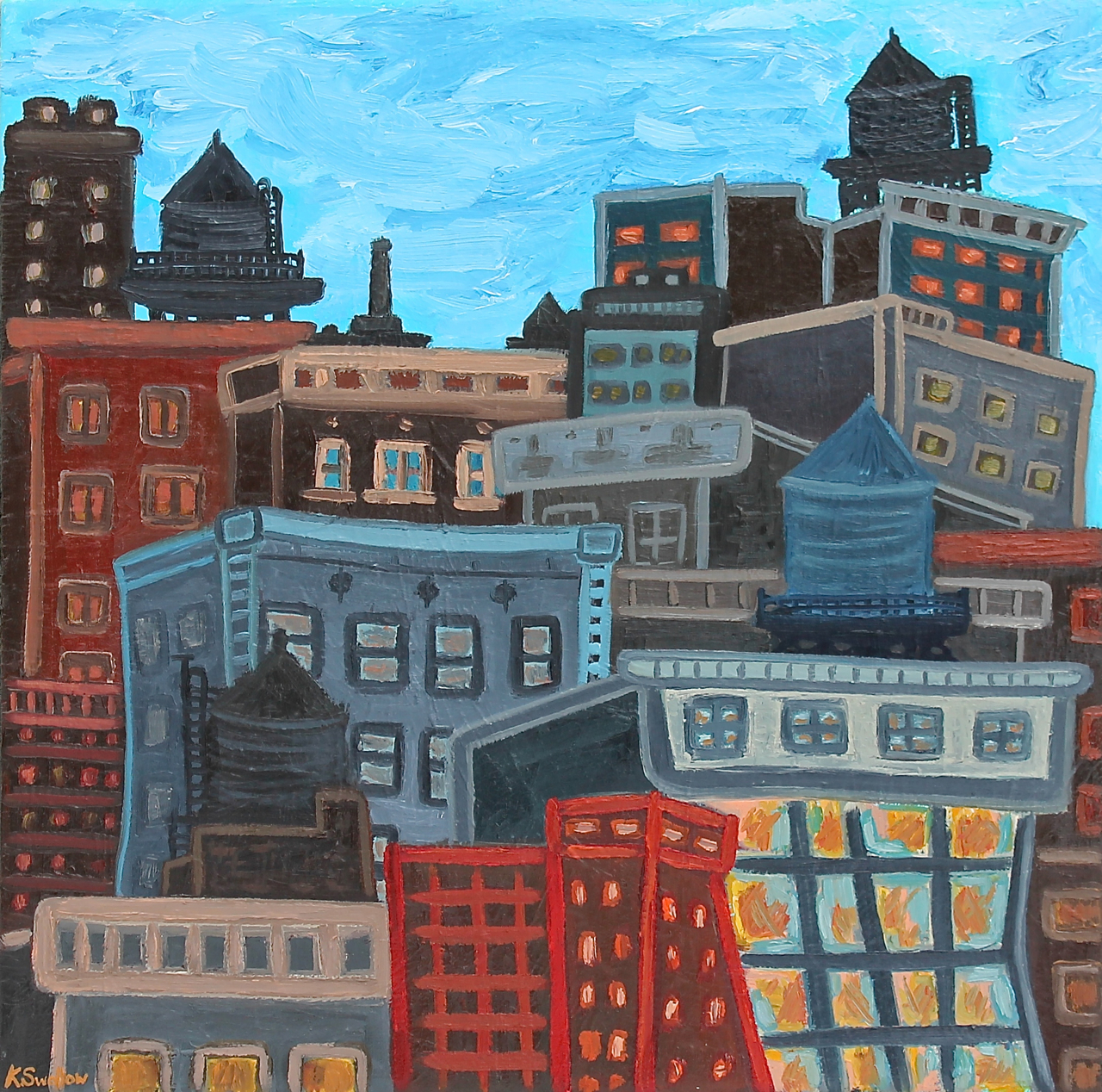 Downtown Lofts, oil on canvas, 28x28, 2014, $500