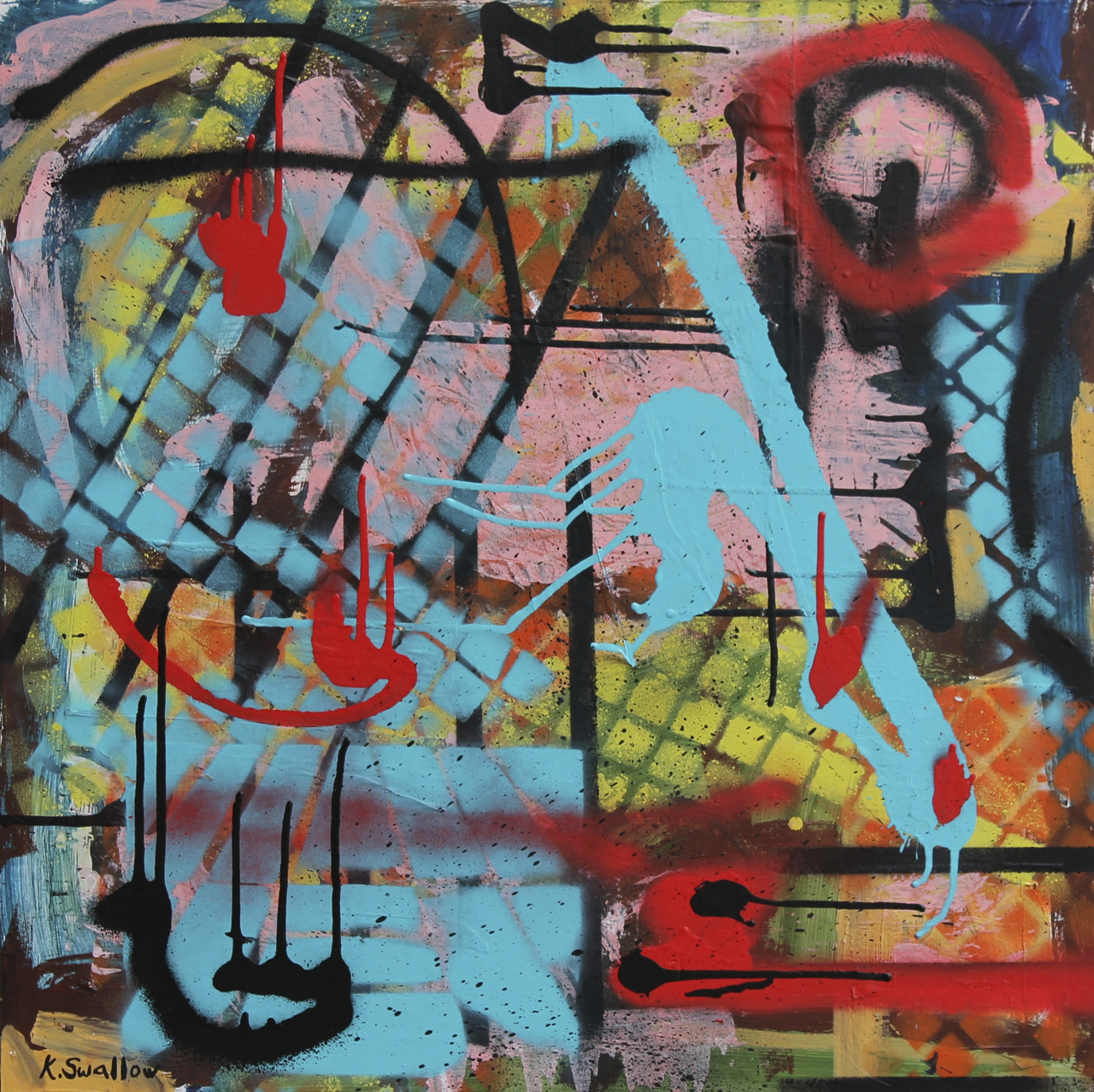 Intersections, acrylic, spray paint, collage on panel, 24x24, 2013, $400