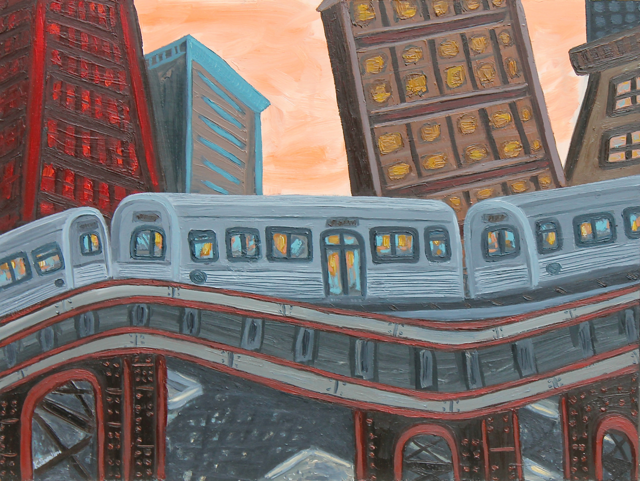 Transit Skyline, oil on panel, 18x24, 2014, $350