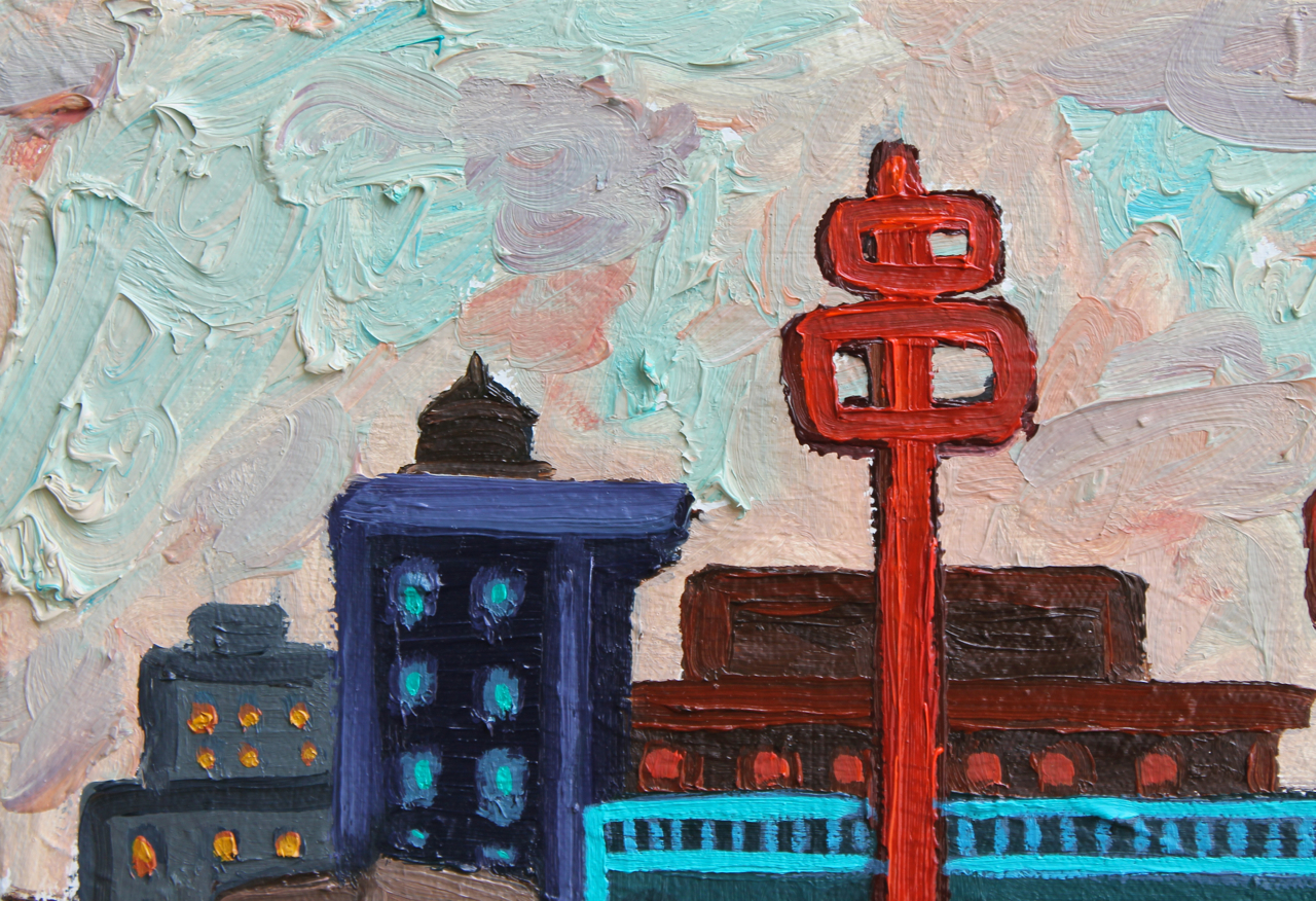 Communication Towers (Detail), oil on canvas, 2014