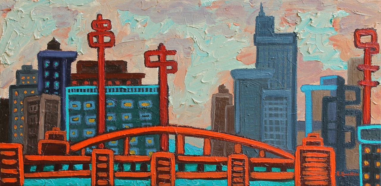 Communication Towers, oil on canvas, 10x30, 2014