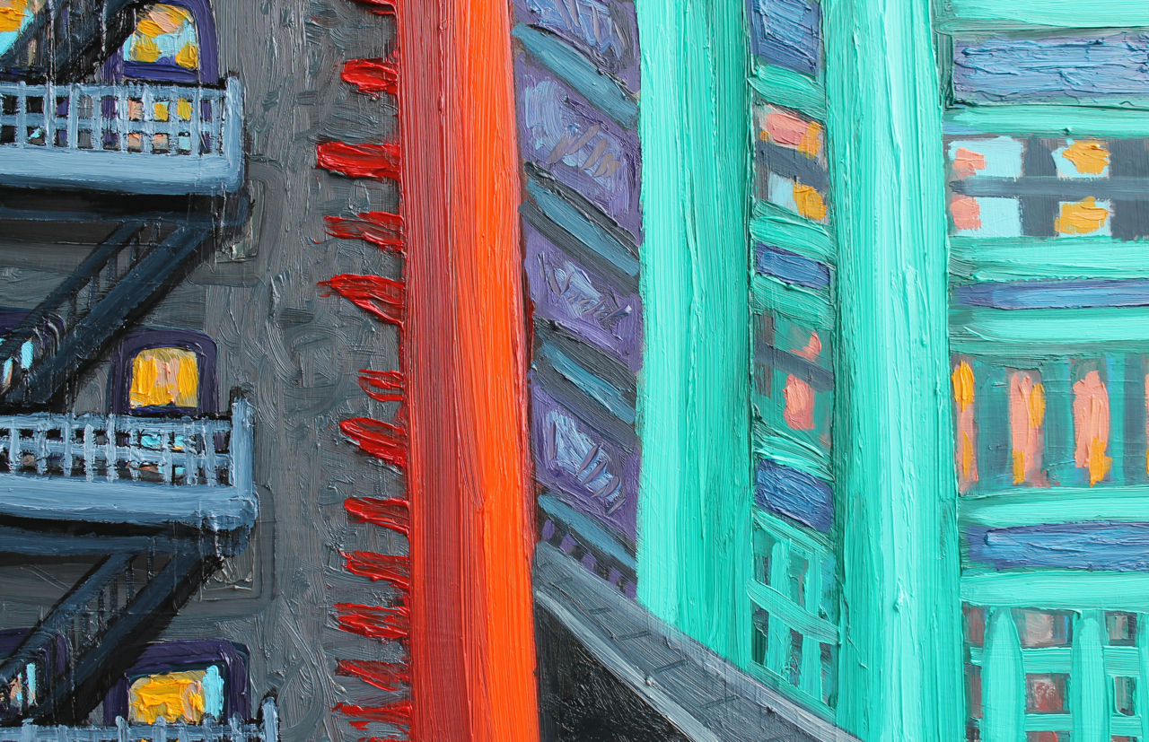 View from 11am Meeting (Detail), oil on panel, 2014
