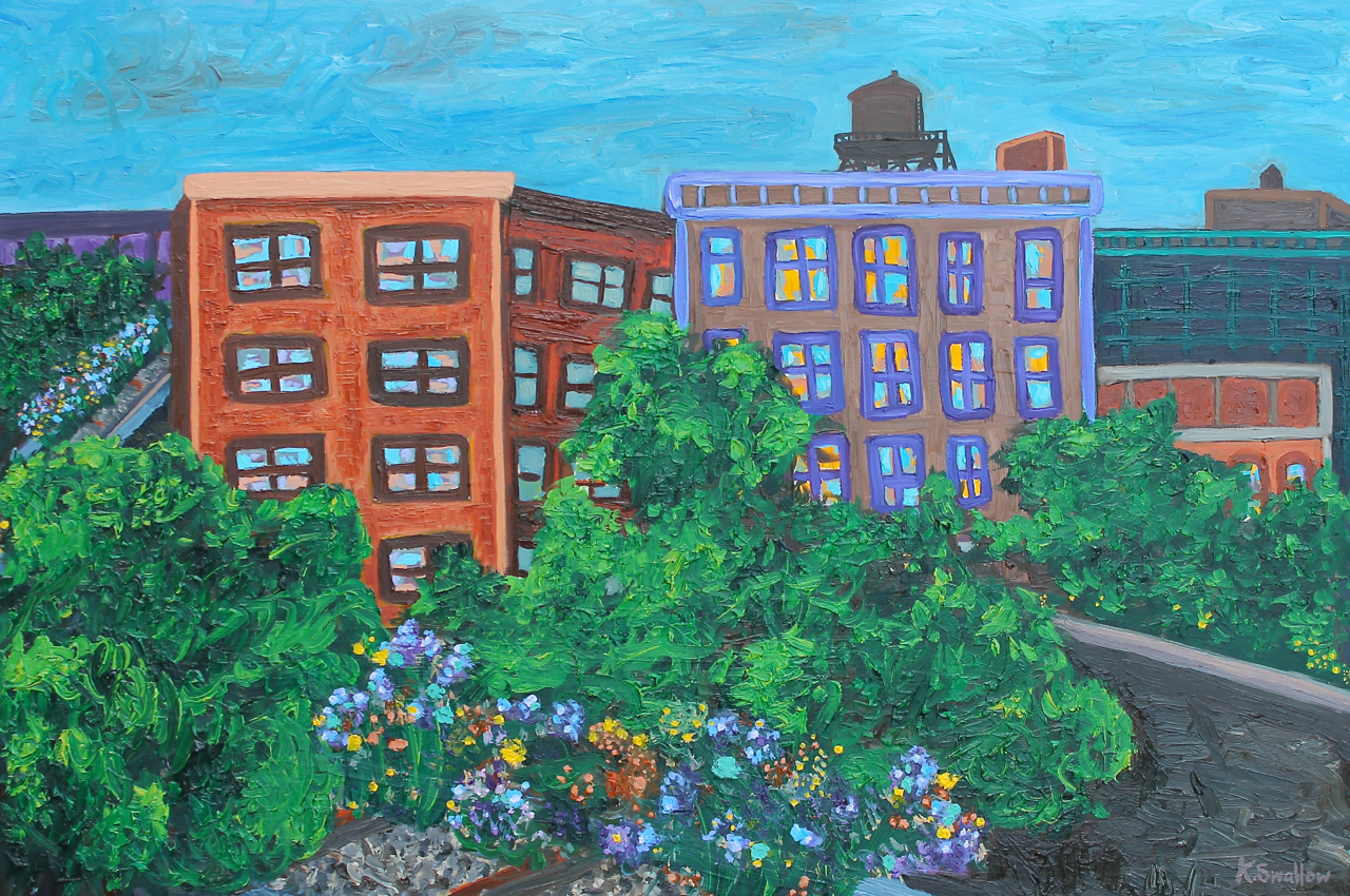 High Line Bend at 30th St., oil on panel, 24x36, 2014, $600