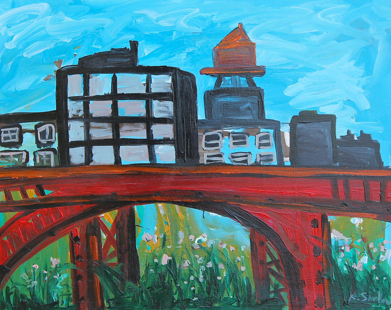 Ravenswood In Bloom, acrylic on panel, 24x30, 2014, $350