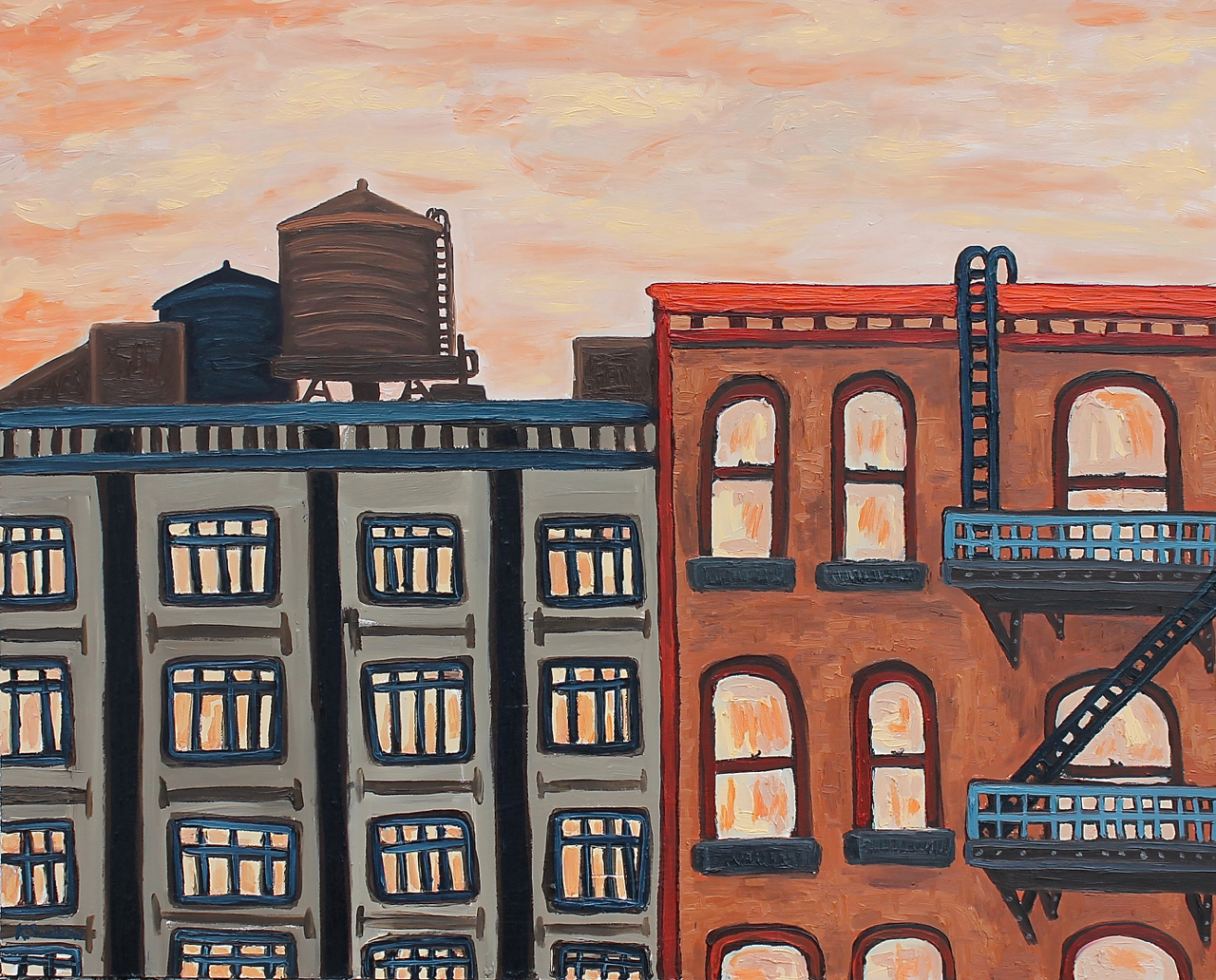 Rooftop Escape Plan, oil on panel, 24x30, 2014, $400