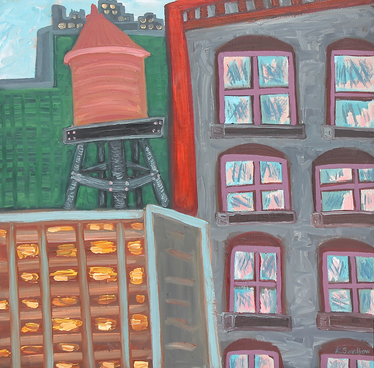 South State Street Lofts, oil on panel, 24x24, 2015, $300