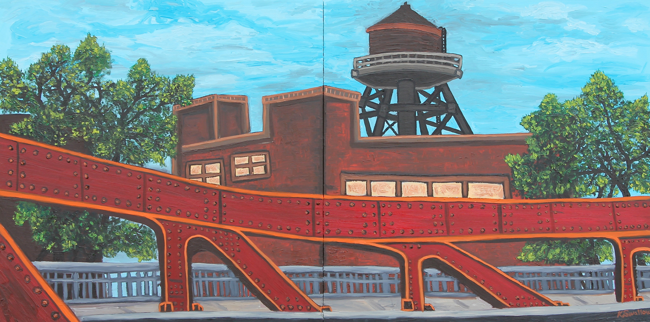 Canal Street Bridge, oil on panel, 24x48 (diptych), 2015, $600