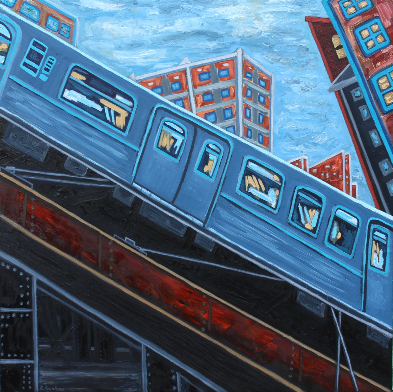 Chicago Blues, oil on canvas, 42x42, 2015, AVAILABLE