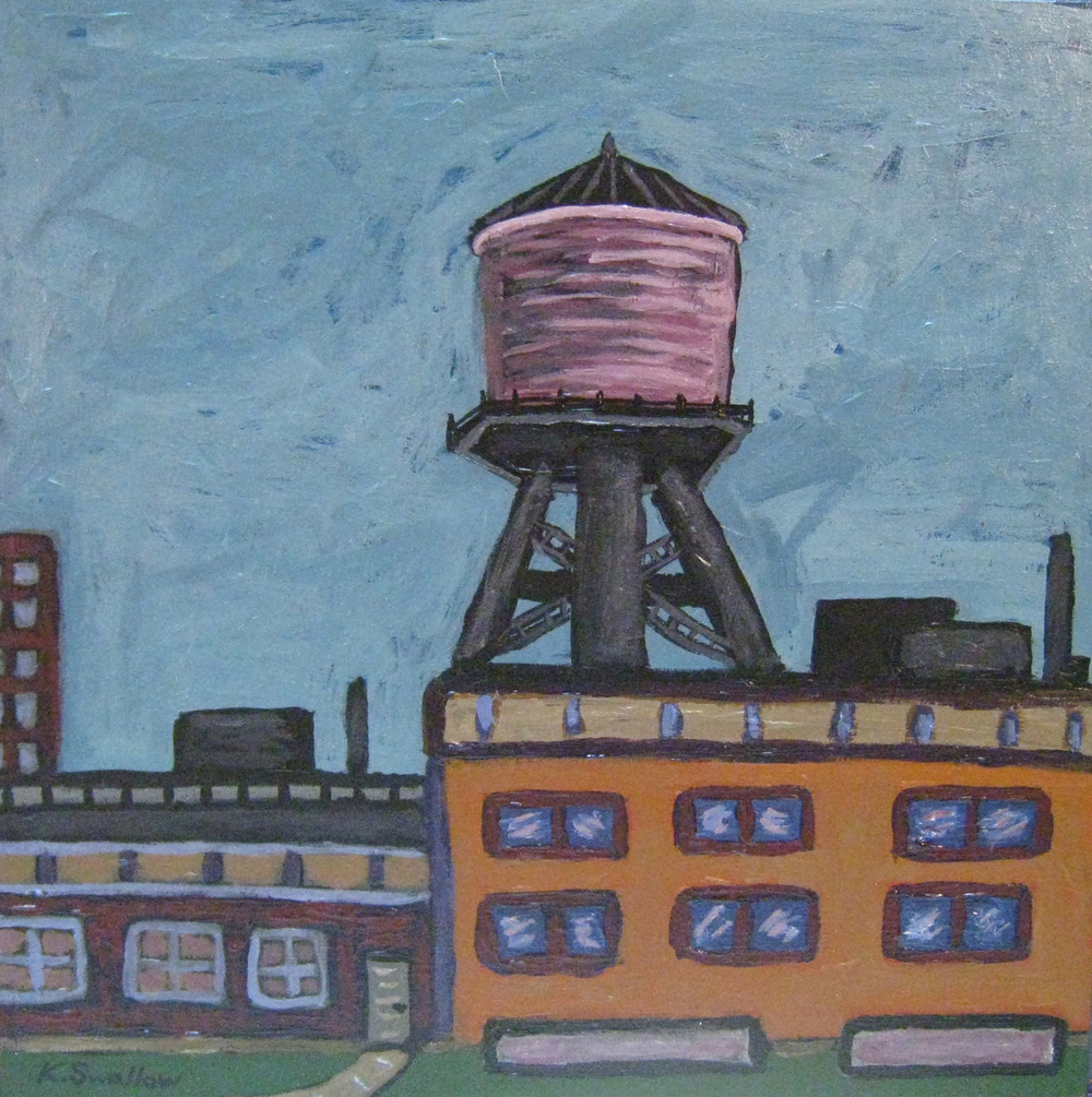 Weed St. Watertank, acrylic on wood panel, 12x12, 2008, SOLD