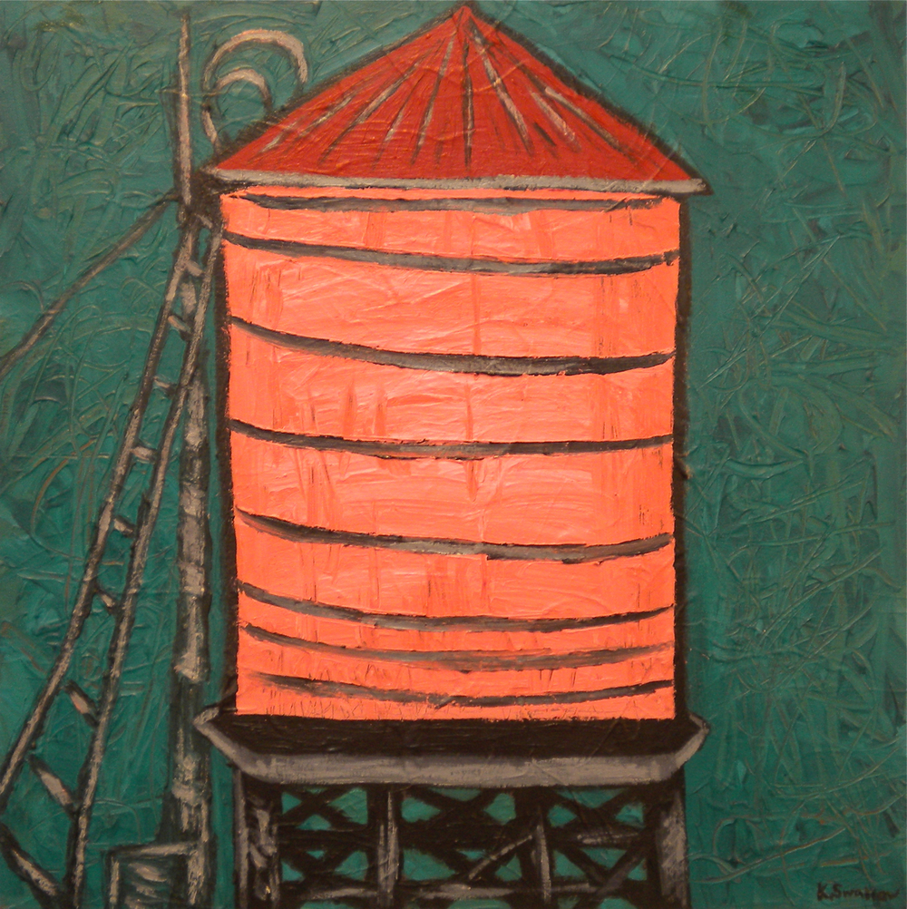 Pink Water Tank, acrylic on canvas, 24x24, 2010, AVAILABLE