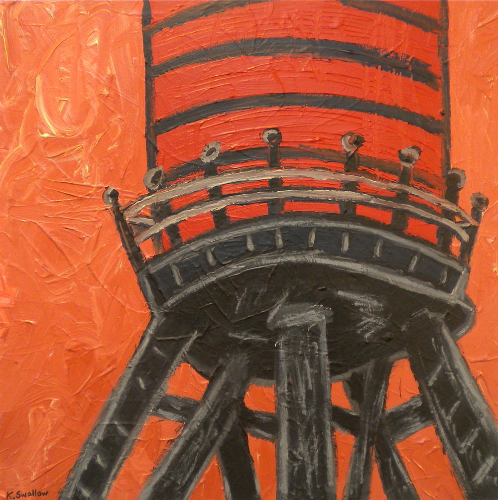 Red Water Tank, acrylic on canvas, 24x24, 2010, AVAILABLE
