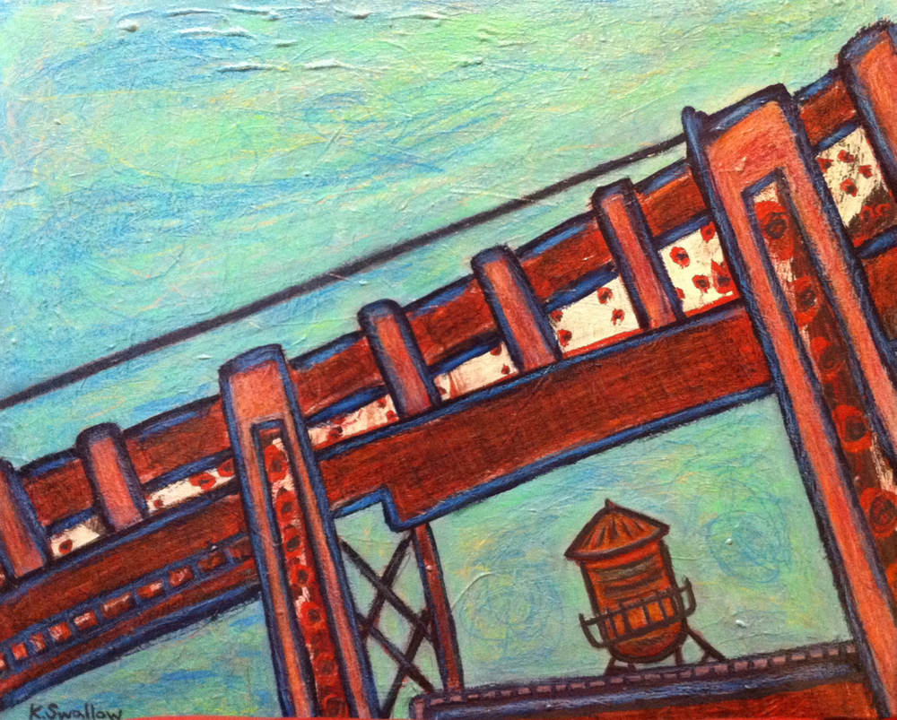 Pencil Tank - Roscoe Village, acrylic on canvas, 24x30, 2011, AVAILABLE