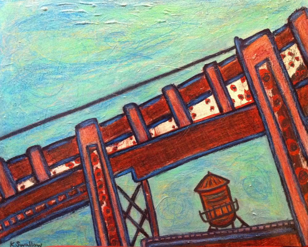 Pencil Tank - Roscoe Village, acrylic on canvas, 24x30, 2011, SOLD