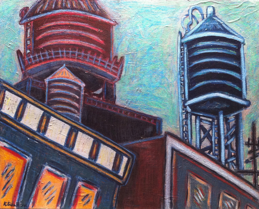 The Village - Bleeker St., acrylic on canvas, 24x30, 2011, AVAILABLE