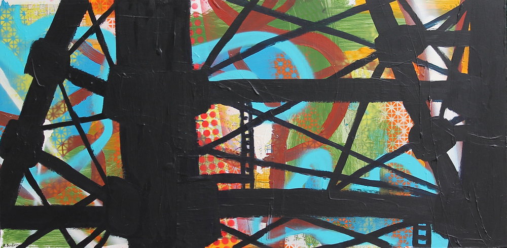 Lakeview Platform, acrylic, spray paint and collage on panel, 24x48, 2013, AVAILABLE
