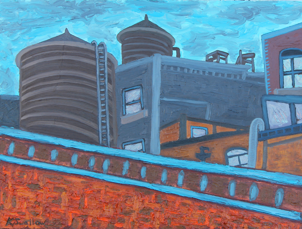 High Line Stacks, oil on panel, 18x24, 2014, AVAILABLE