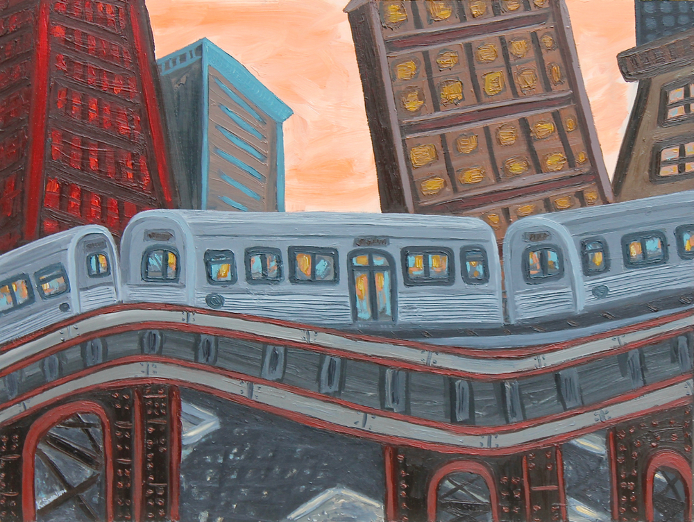 Transit Skyline, oil on panel, 18x24, 2014, SOLD