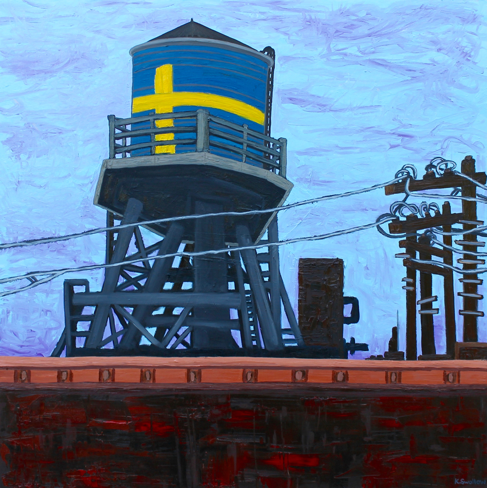 Andersonville Water Tank, oil on panel, 48x48, 2015, AVAILABLE