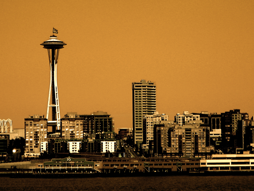 Seattle Skyline Over the Puget Sound, digitally enhanced photograph, 2008