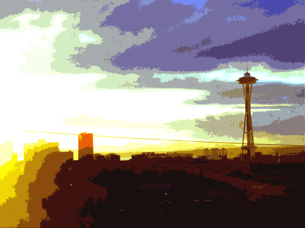 Seattle Space Needle at Sunset, digitally enhanced photograph, 2002