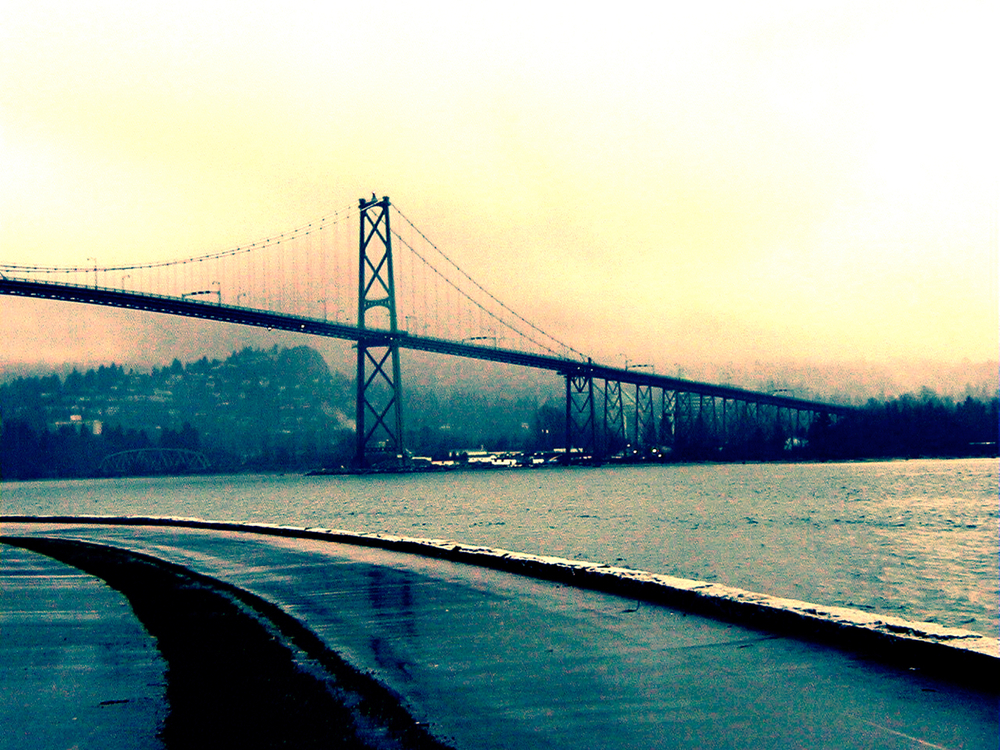Vancouver (bridge/fog), digitally enhanced photograph, 2002