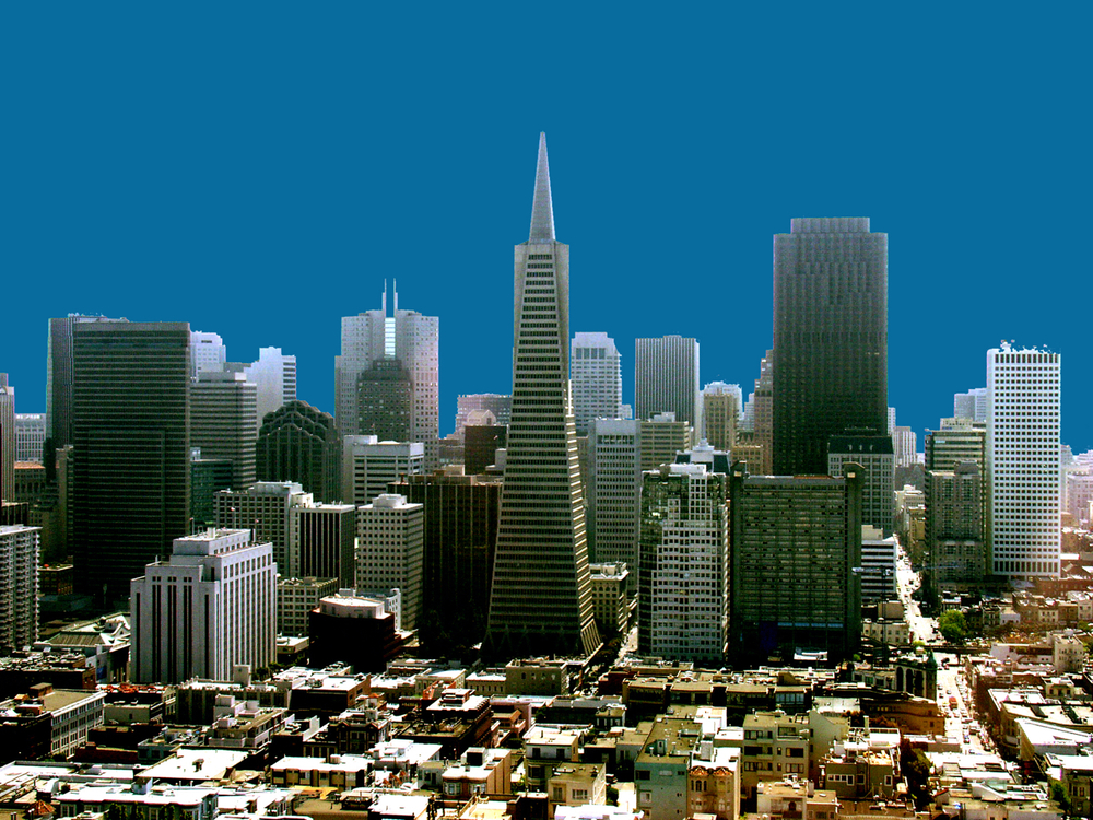 San Francisco Skyline, digitally enhanced photograph, 2004