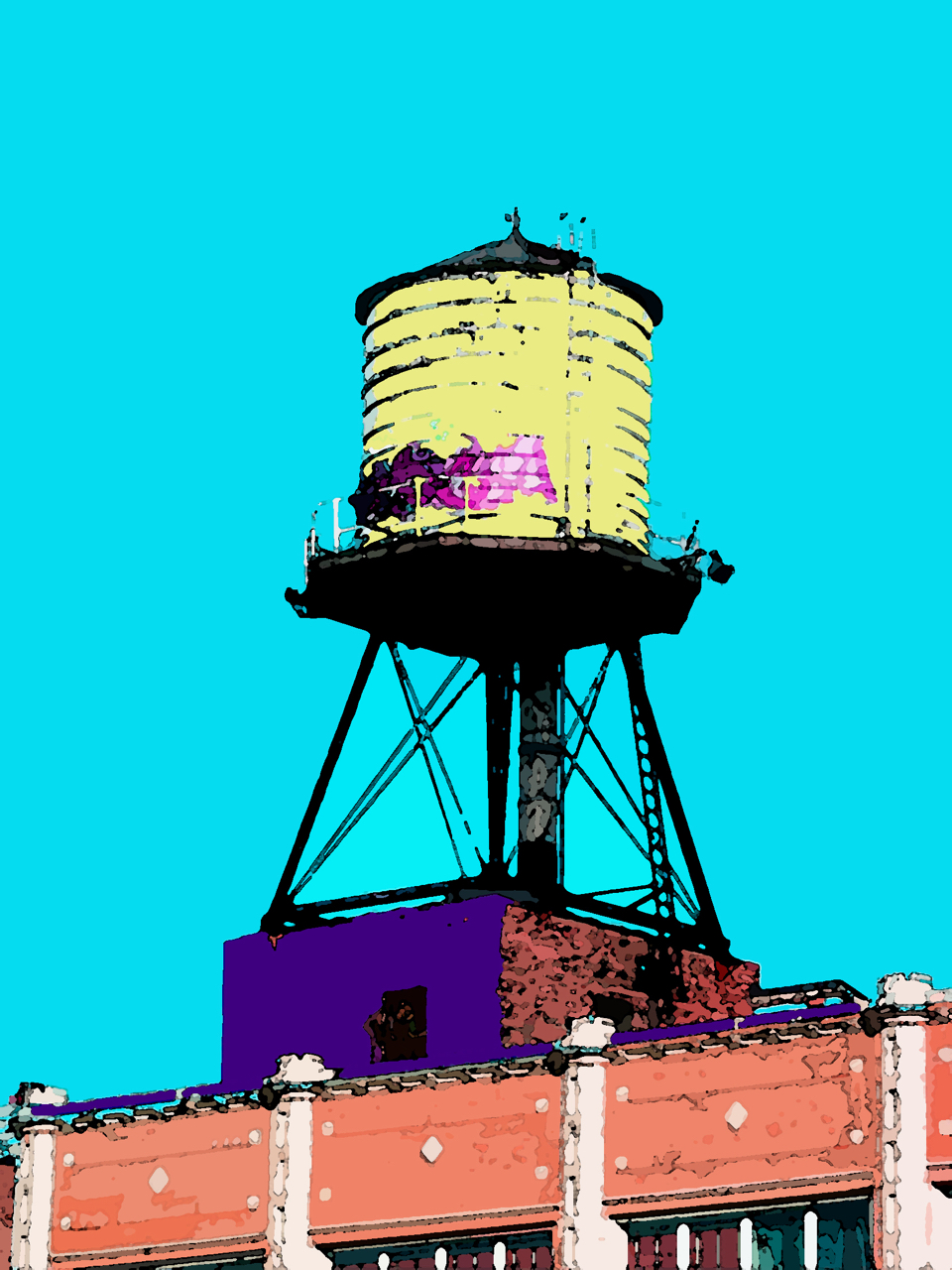 West Town Watertank (Chicago Avenue), digitally enhanced photograph, 2005