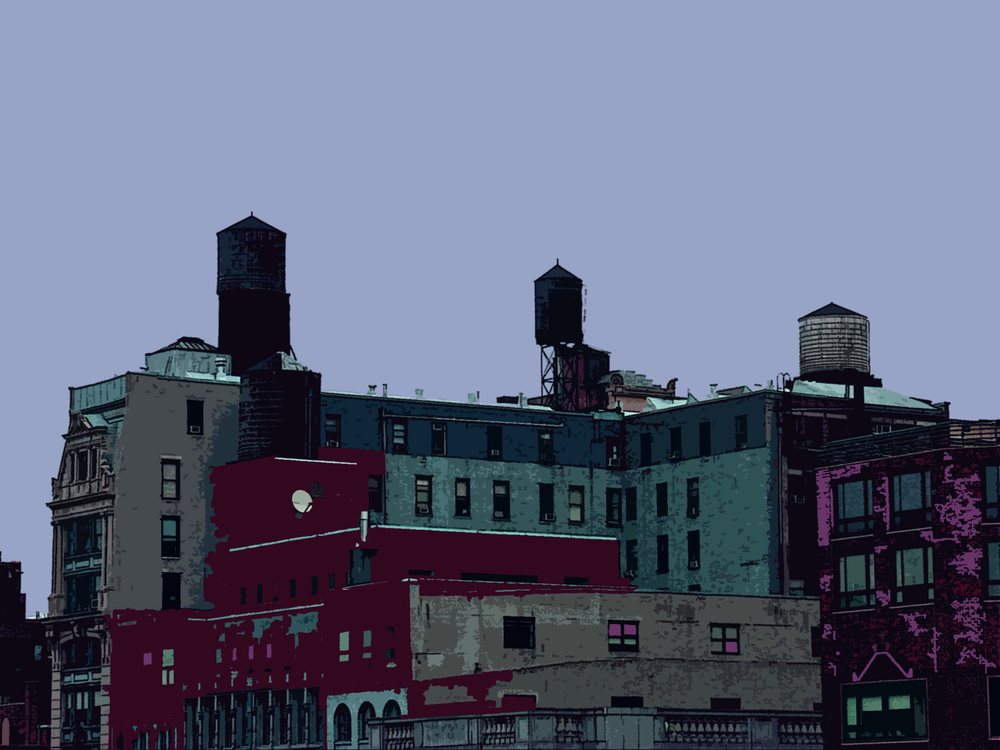 East Village Peaks (New York), digitally enhanced photograph, 2009